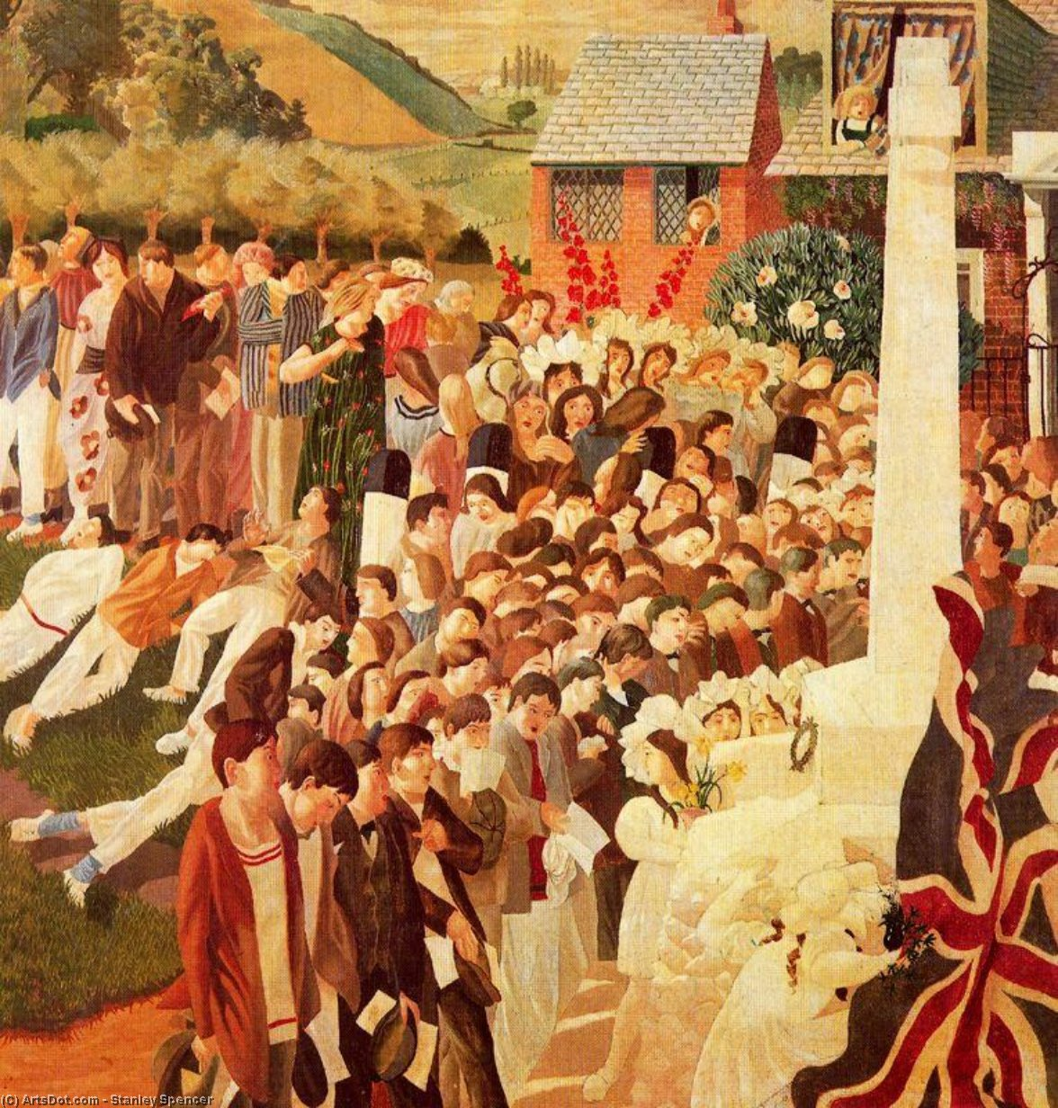 Unveiling Cookham war memorial by Stanley Spencer (1891-1959, United Kingdom)