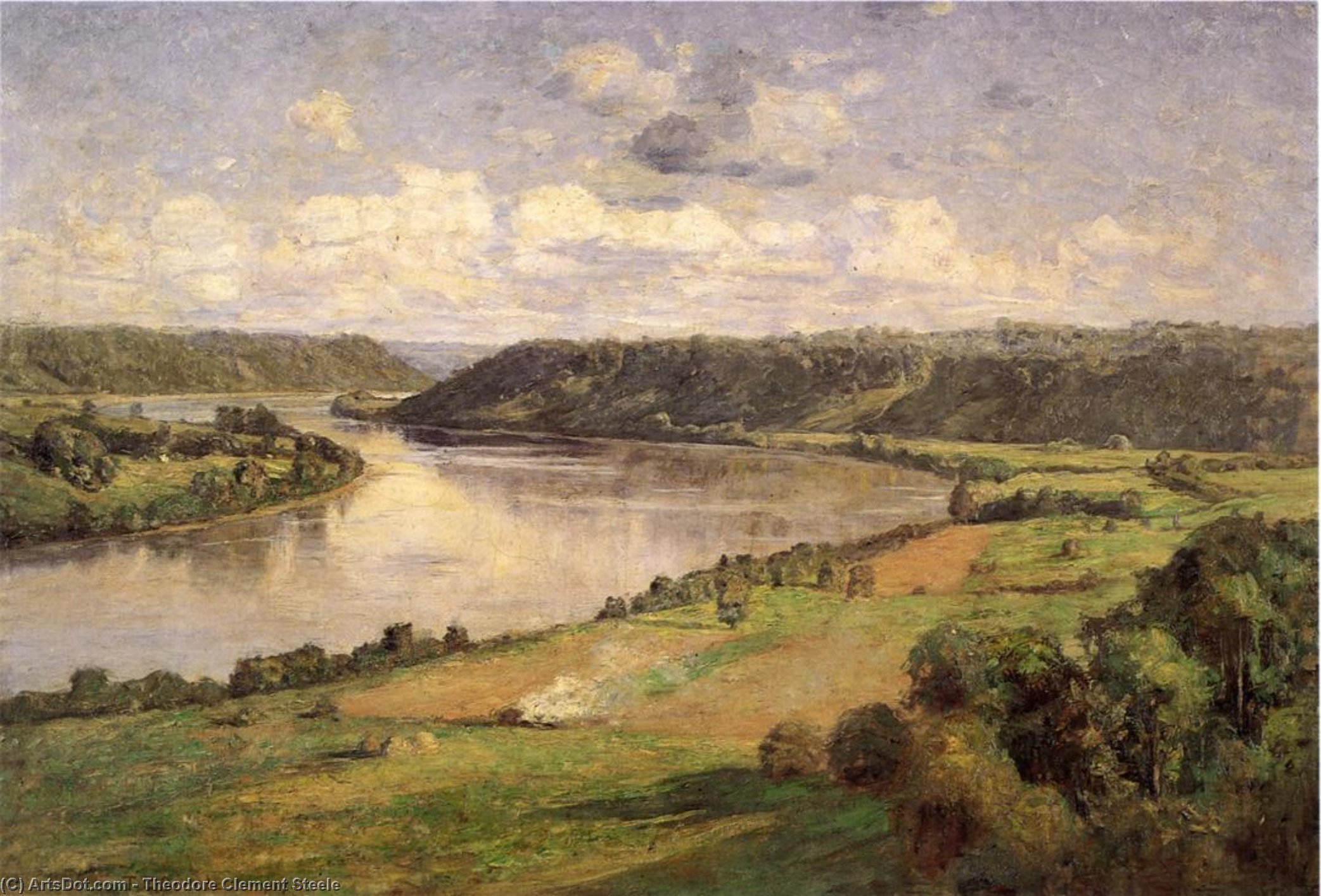 The Ohio river from the College Campus, Hanover, Oil On Canvas by Theodore Clement Steele  (order Fine Art fine art print Theodore Clement Steele)