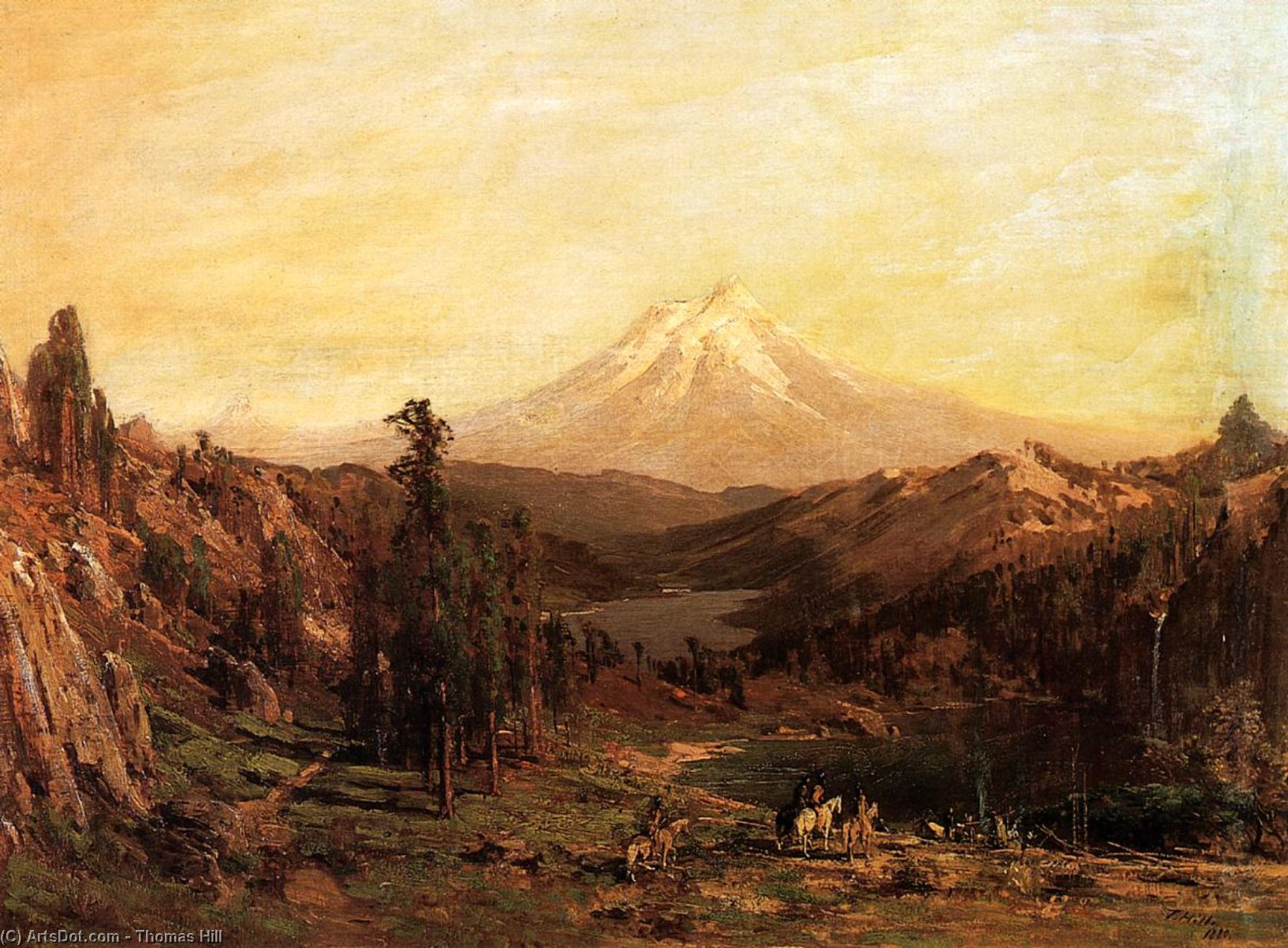 Mount Shasta and Castle Lake, California, Oil On Panel by Thomas Hill (1829-1908, United Kingdom)