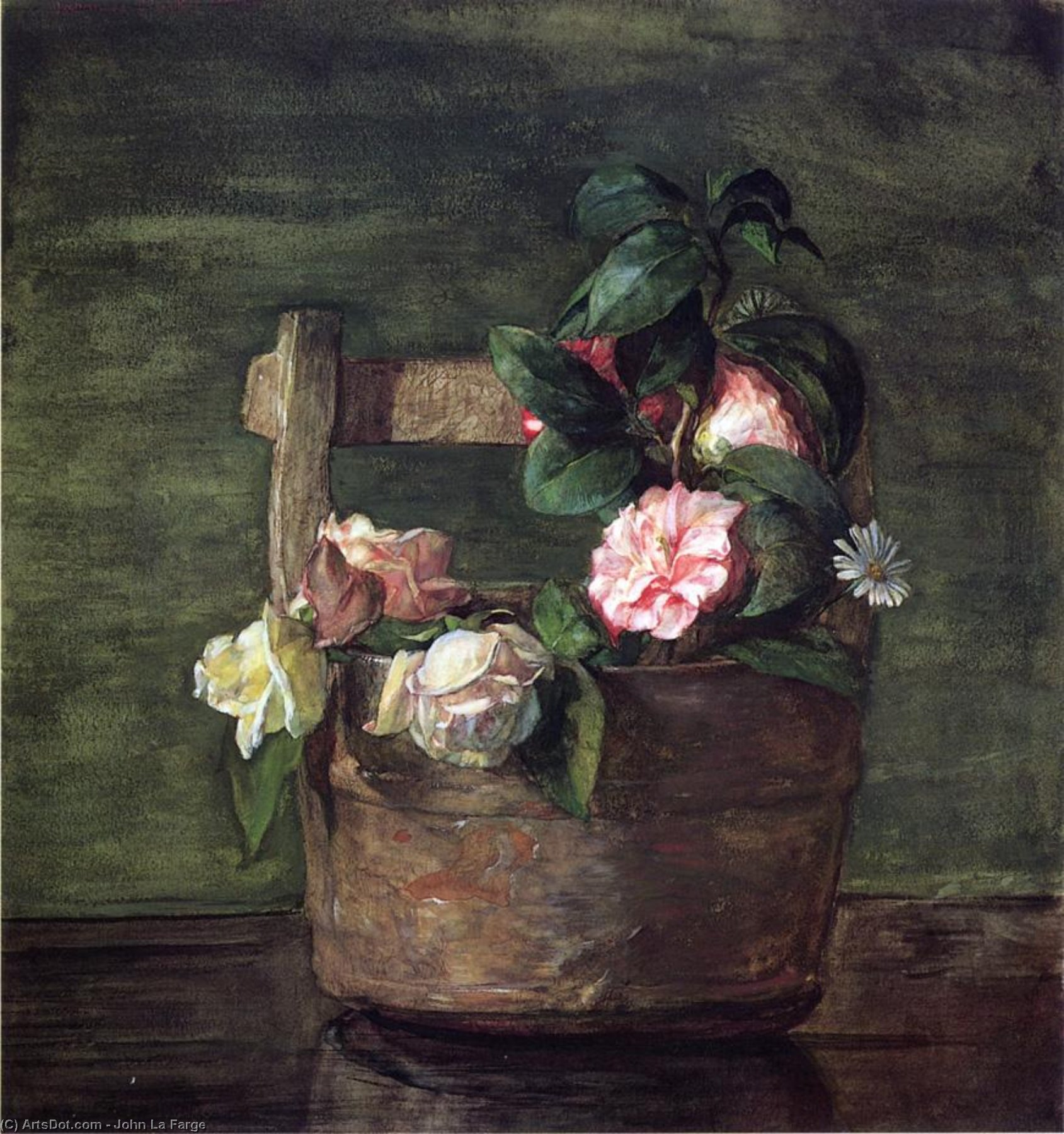 Order Art Reproductions | Camellias and Roses in Japanese Vase of Earthenware with Crackle, 1879 by John La Farge (1835-1910, United States) | ArtsDot.com
