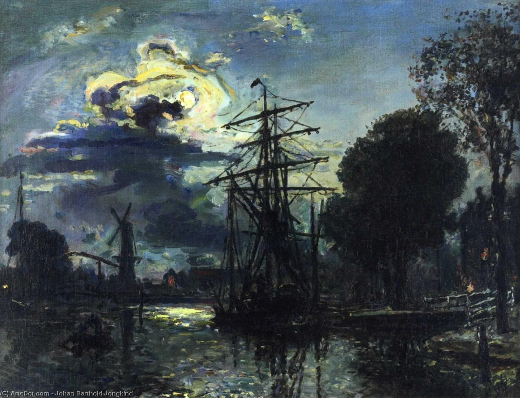 Canal in the Moonlight, Oil On Canvas by Johan Barthold Jongkind (1819-1891, Netherlands)
