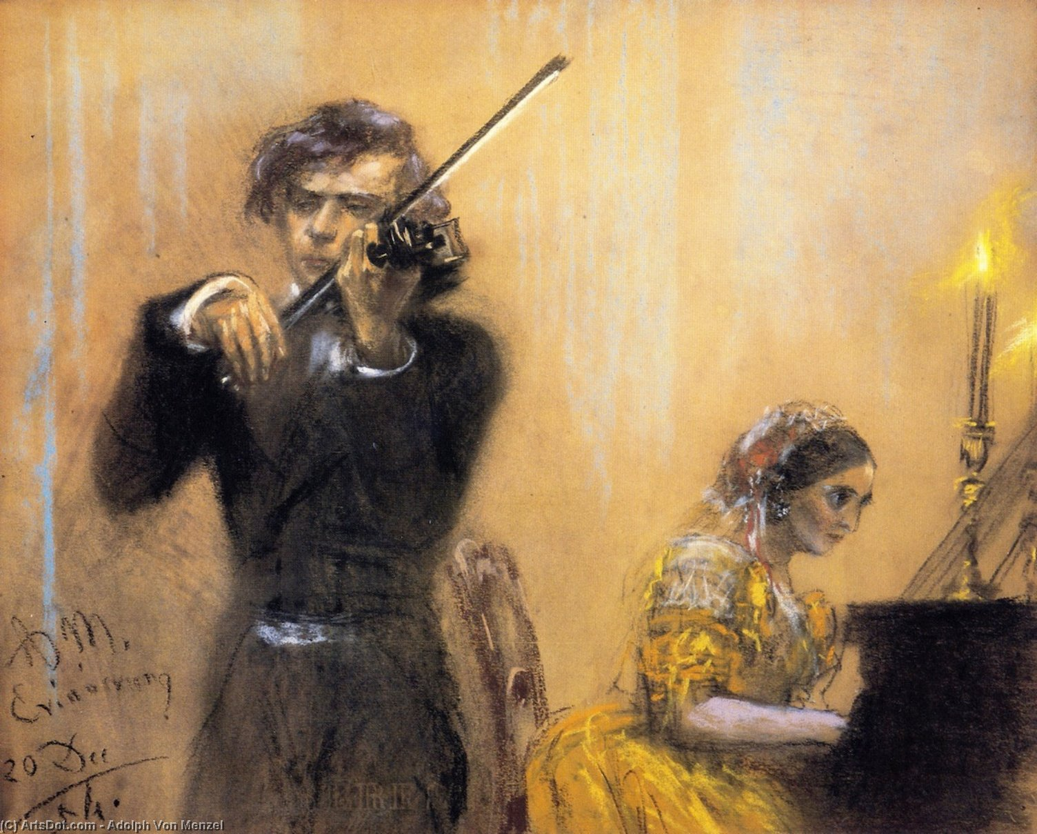 Clara Schumann and Josep Joachim in Concert, Drawing by Adolph Menzel (1815-1905, Poland)
