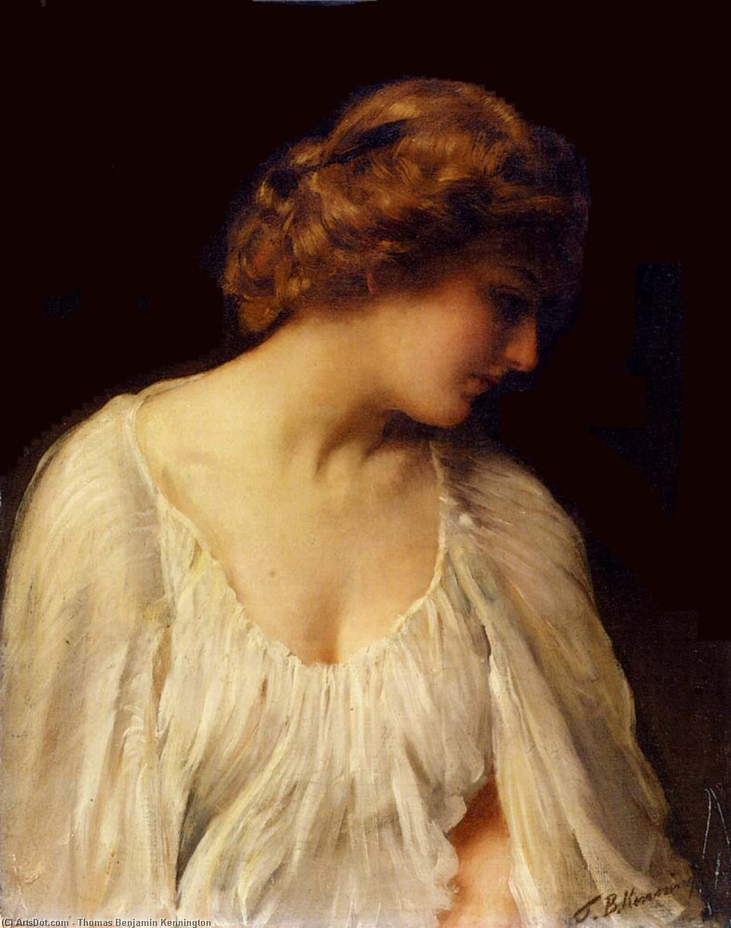Contemplation by Thomas Benjamin Kennington (1856-1916, United Kingdom)