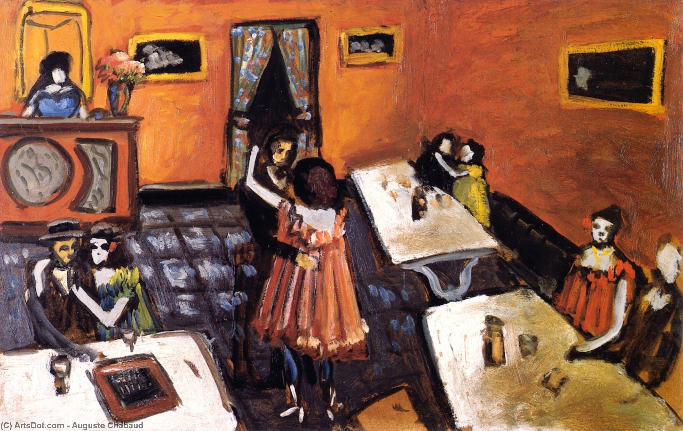 Couples in a Bistro, Oil On Canvas by Auguste Chabaud (1882-1955, France)