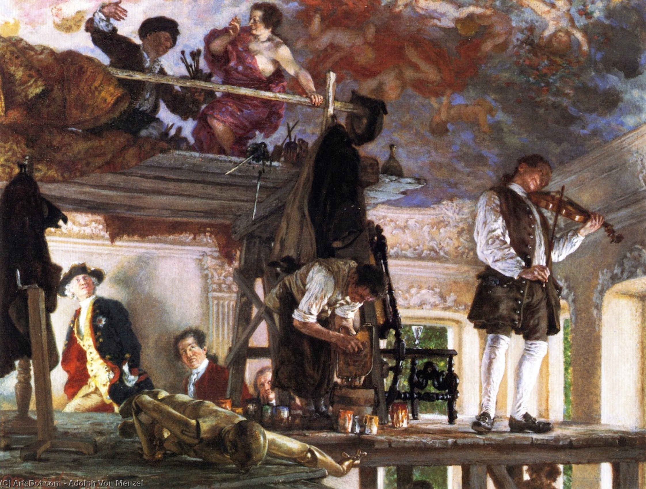 Crown Prince Frederick Pays a Visit to the Painter Pesne on his Scaffold at Rheinsberg, Painting by Adolph Menzel (1815-1905, Poland)