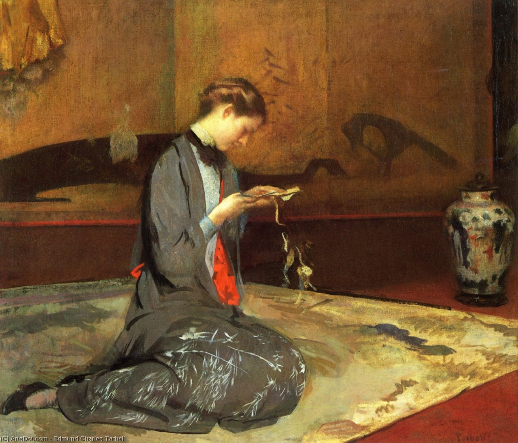 Cutting Origami, Oil On Canvas by Edmund Charles Tarbell (1862-1938, United States)