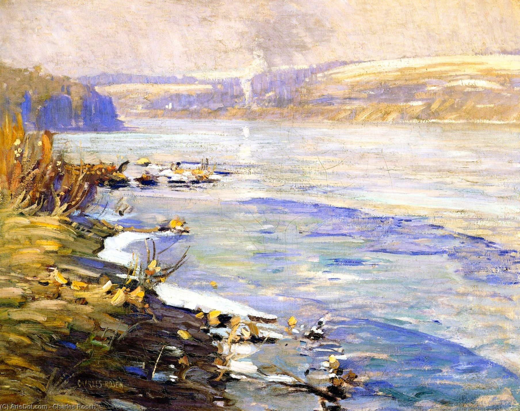 Delaware River near New Hope, Pennsylvania, Watercolour by Charles Rosen