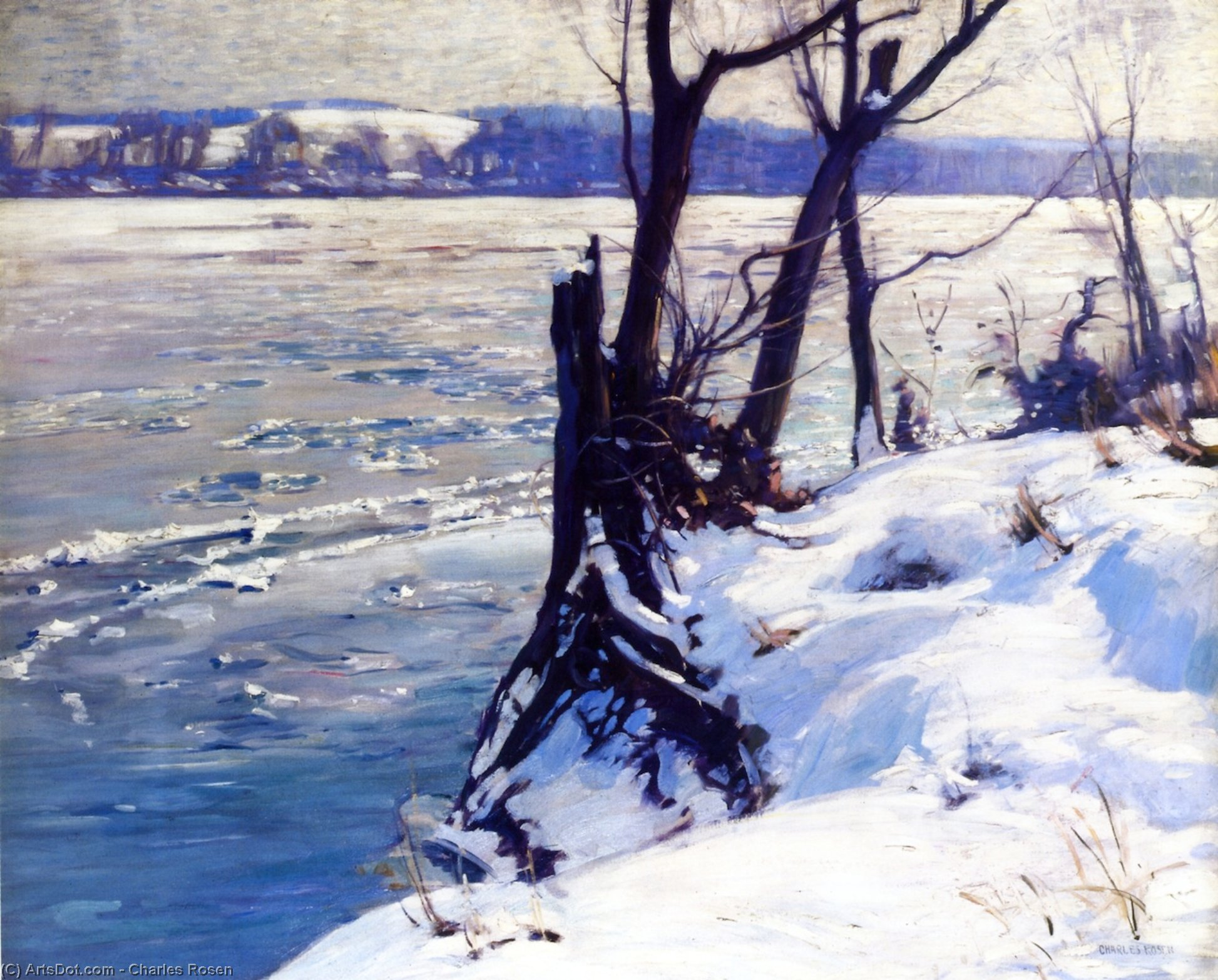 The Delaware: Winter Morning, Oil On Panel by Charles Rosen