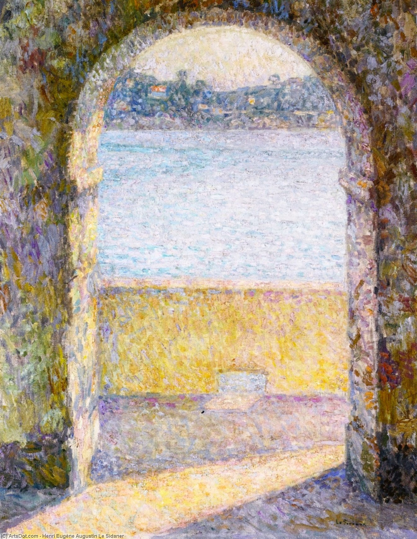 Door on the Sea, Villefranche-sur-Mer, Oil On Canvas by Henri Eugène Augustin Le Sidaner (1862-1939, Mauritius)