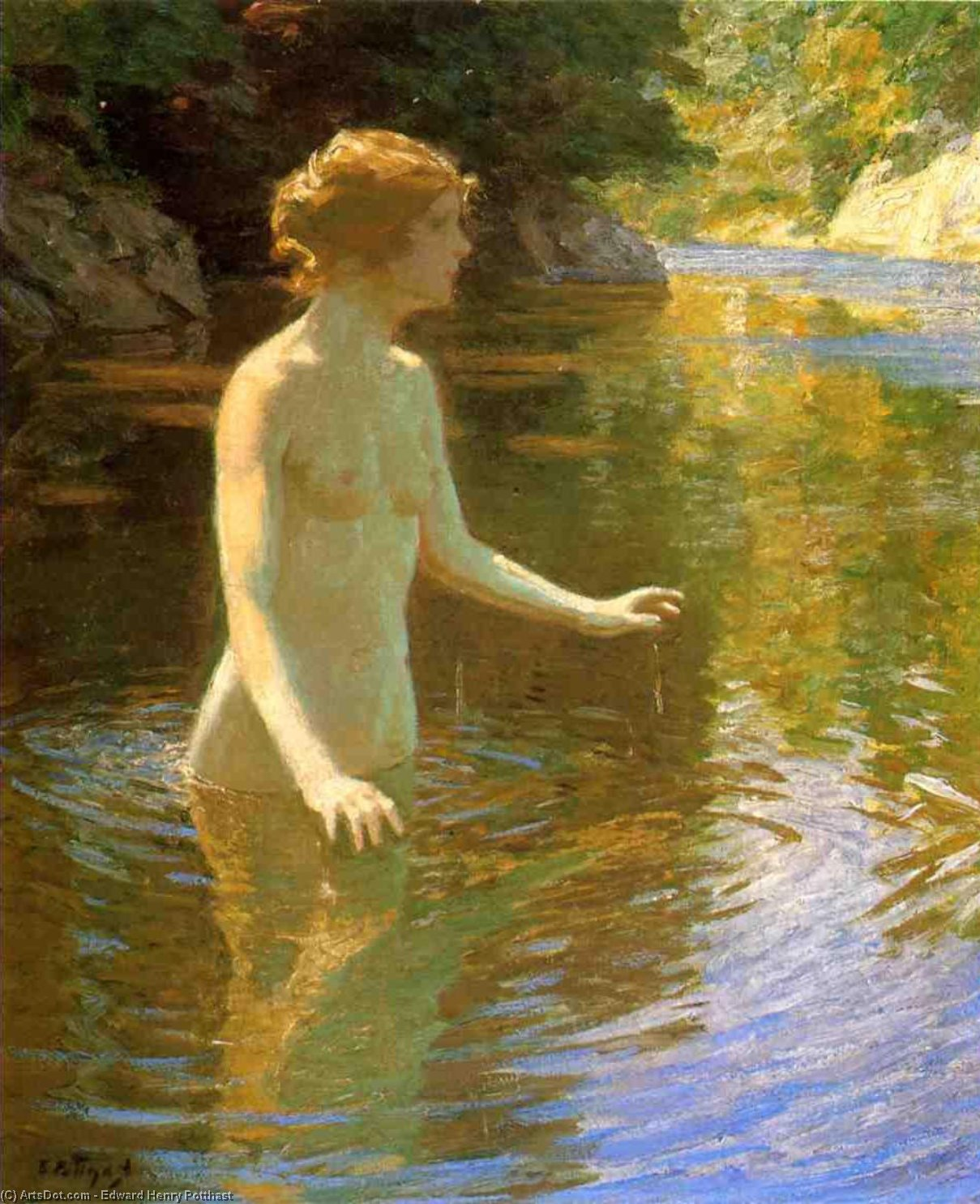 Enchanted Pool by Edward Henry Potthast (1857-1927, United States) | Paintings Reproductions Edward Henry Potthast | ArtsDot.com