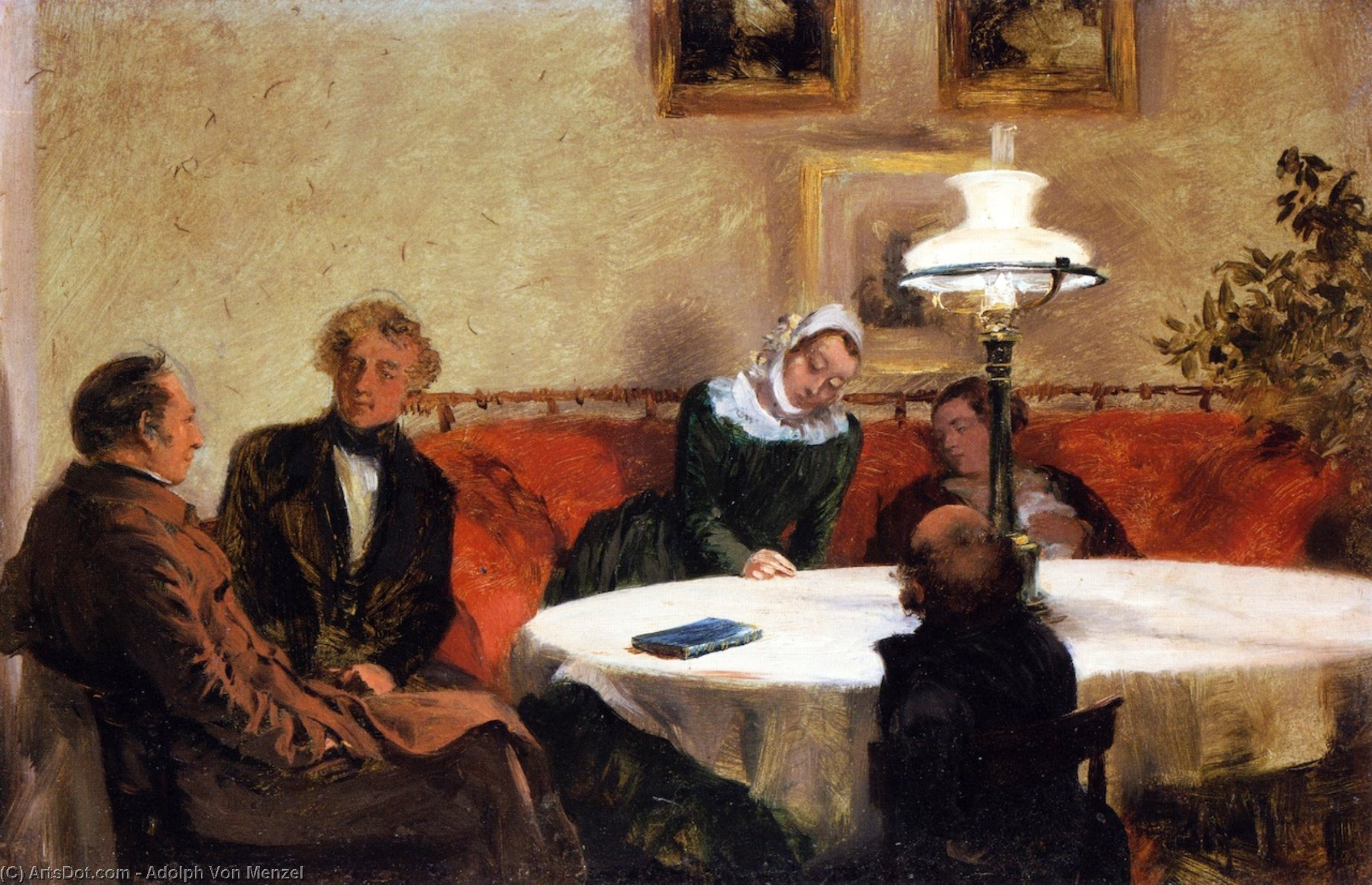 Order Museum Quality Reproductions : An Evening Together, 1846 by Adolph Menzel (1815-1905, Poland) | ArtsDot.com