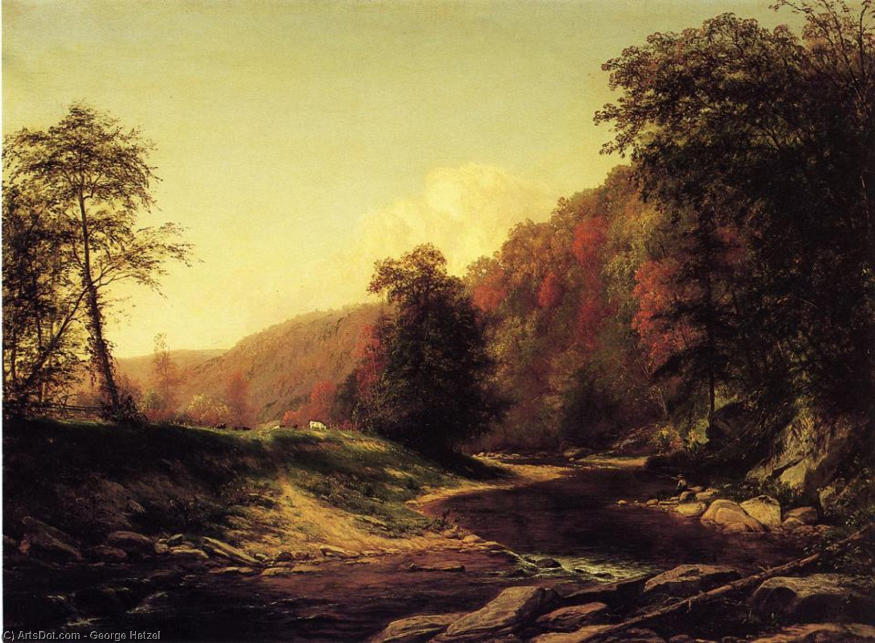 Fishing on the Brandywine near Wilmington, Oil On Canvas by George Hetzel (1826-1899, France)