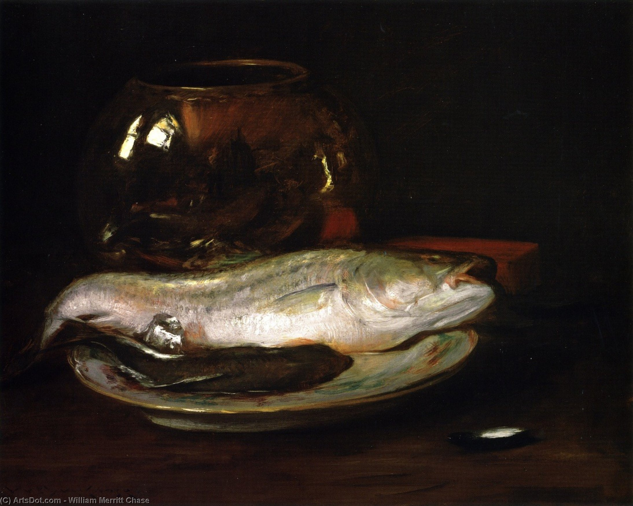 Fish Still Life (also known as Still LIfe - Fish and Big Bowl, Still LIfe - Striped Bass), Oil On Canvas by William Merritt Chase (1849-1916, United States)