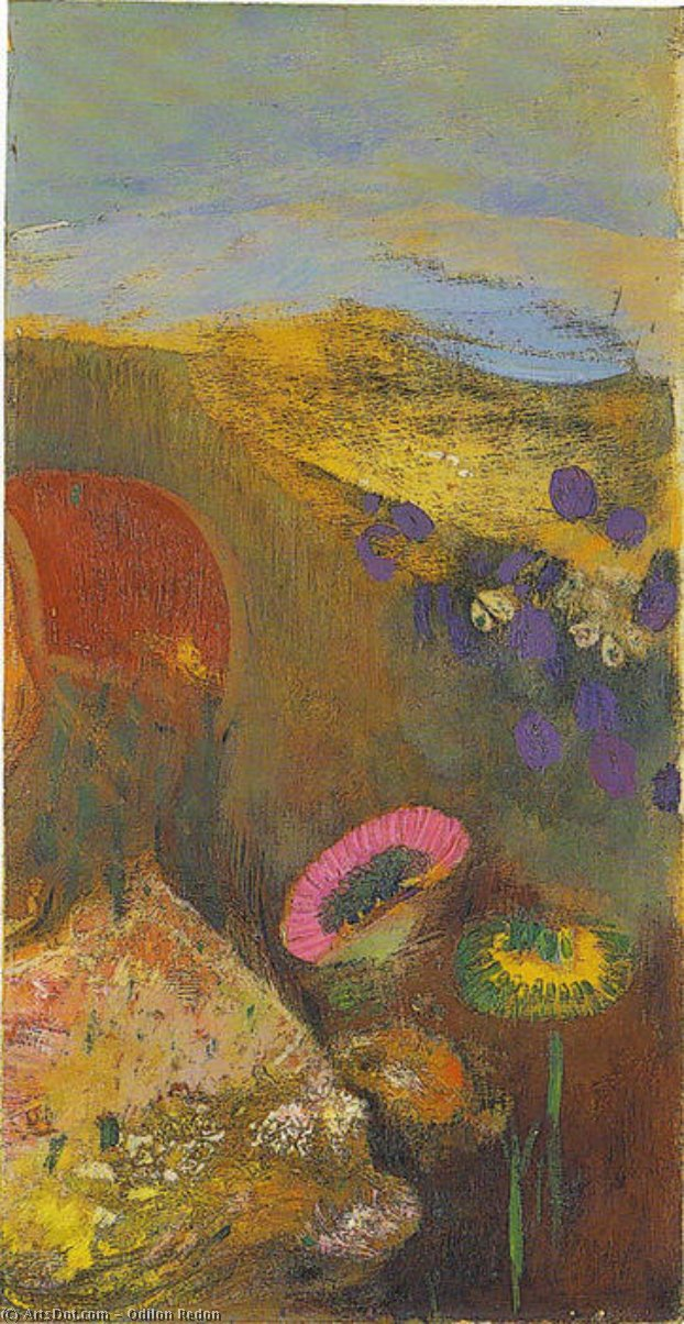 Fleurs étranges, 1910 by Odilon Redon (1840-1916, France) | Museum Art Reproductions | ArtsDot.com