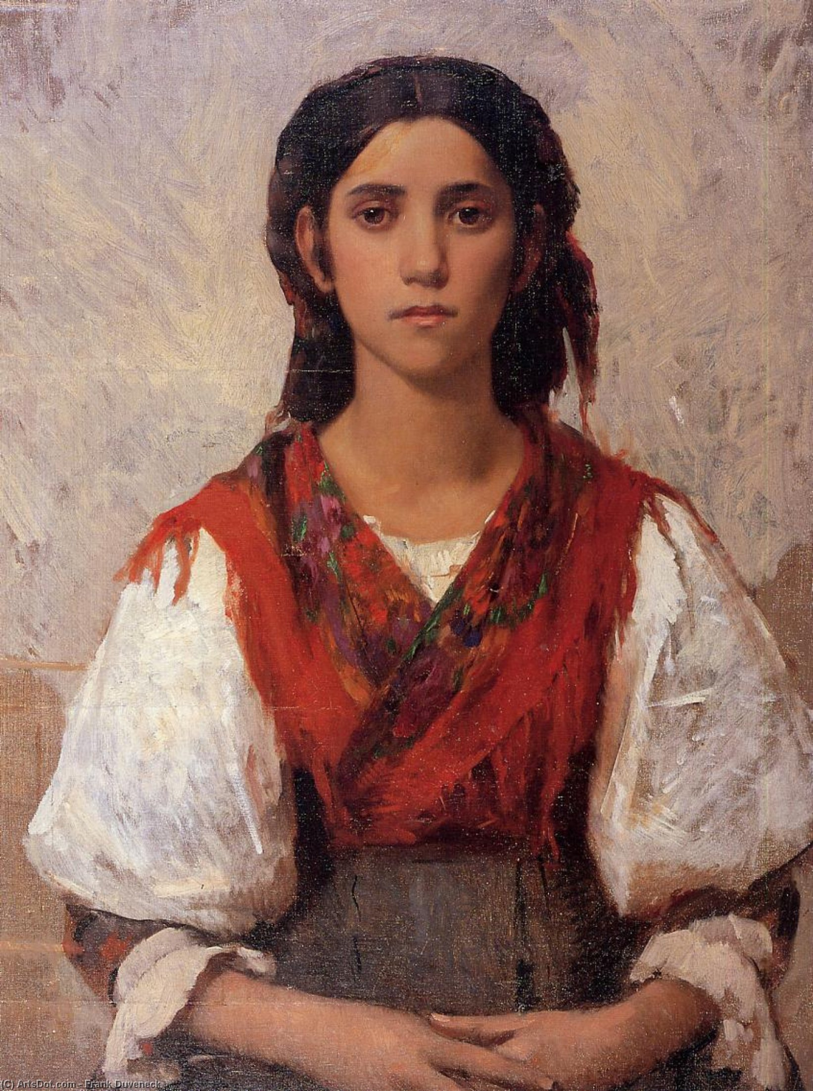 Florentine Flower Girl, Oil On Canvas by Frank Duveneck (1848-1919, United States)