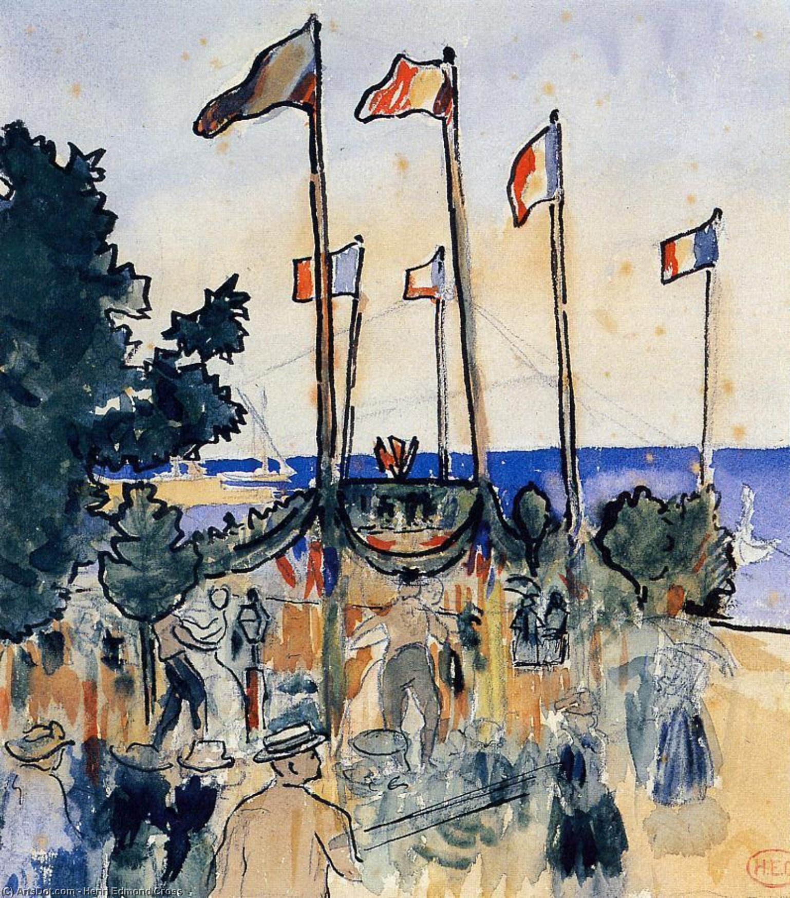 The Fourth of July by the Sea, Watercolour by Henri Edmond Cross (1856-1910, France)