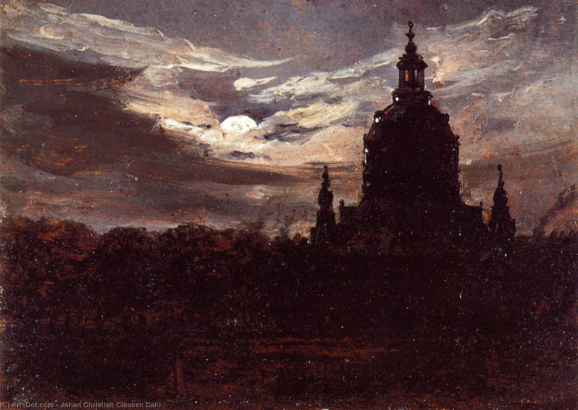 The Frankenkirche, Dresden, Oil On Canvas by Johan Christian Clausen Dahl (1788-1857, Denmark-Norway)