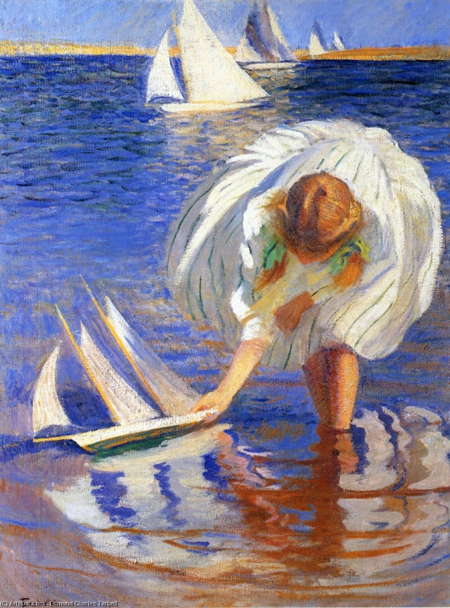 Girl with Sailboat (also known as Child with Boat), Oil On Canvas by Edmund Charles Tarbell (1862-1938, United States)