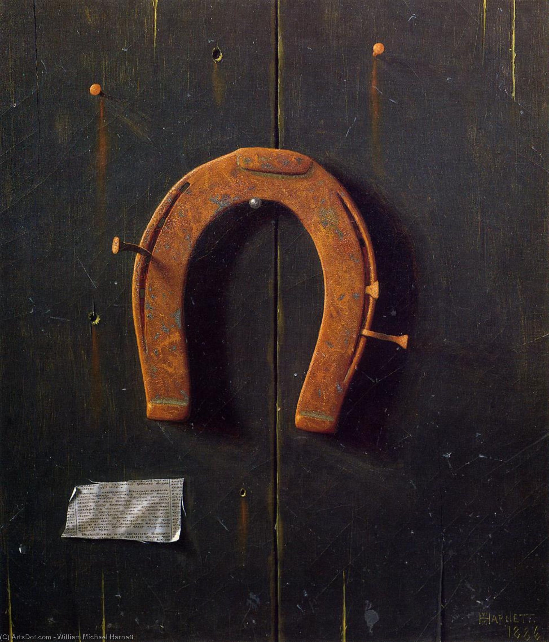 Buy Framed Print The Golden Horseshoe, 1886 by William Michael Harnett (1848-1892, Ireland) | ArtsDot.com | Order Framed Giclee The Golden Horseshoe, 1886 by William Michael Harnett (1848-1892, Ireland) | ArtsDot.com