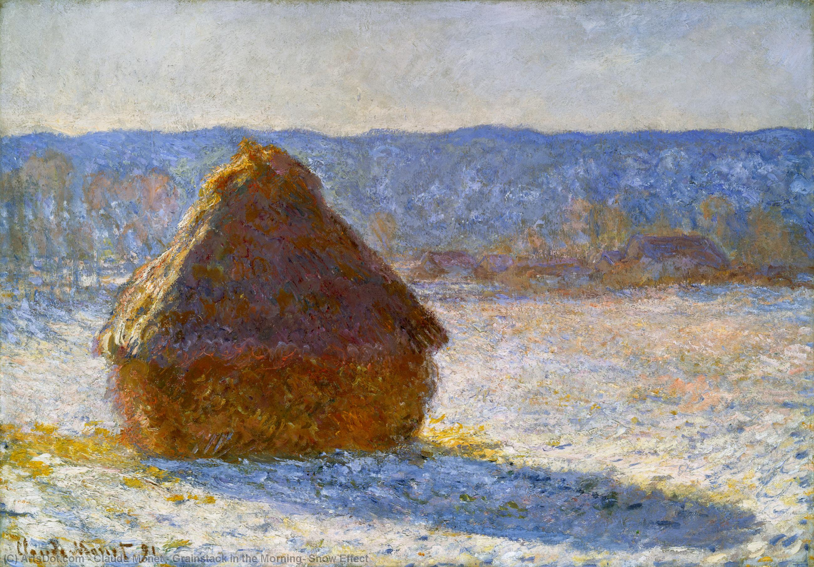 Grainstack in the Morning, Snow Effect, 1890 by Claude Monet (1840-1926, France) | Paintings Reproductions Claude Monet | ArtsDot.com