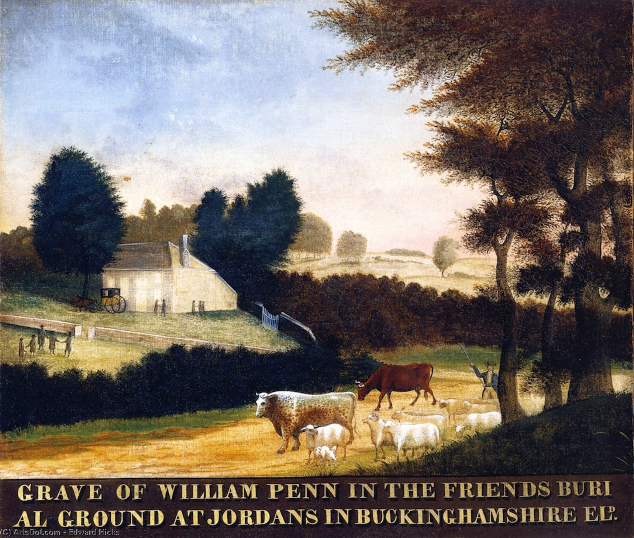 Grave of William Penn at Jordans in England, 1847 by Edward Hicks (1780-1849, United States) | Paintings Reproductions Edward Hicks | ArtsDot.com