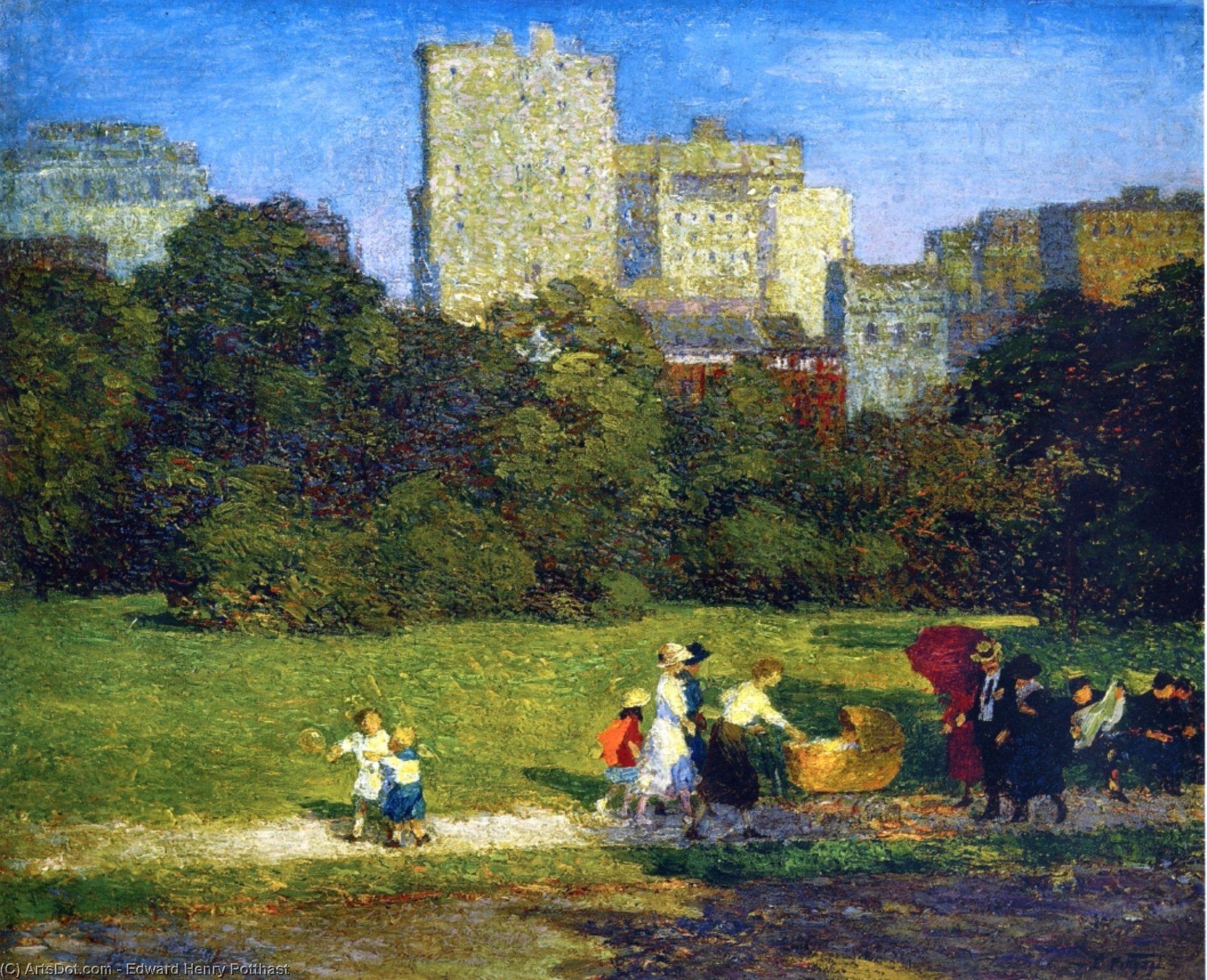 In Central Park by Edward Henry Potthast (1857-1927, United States) | Reproductions Edward Henry Potthast | ArtsDot.com