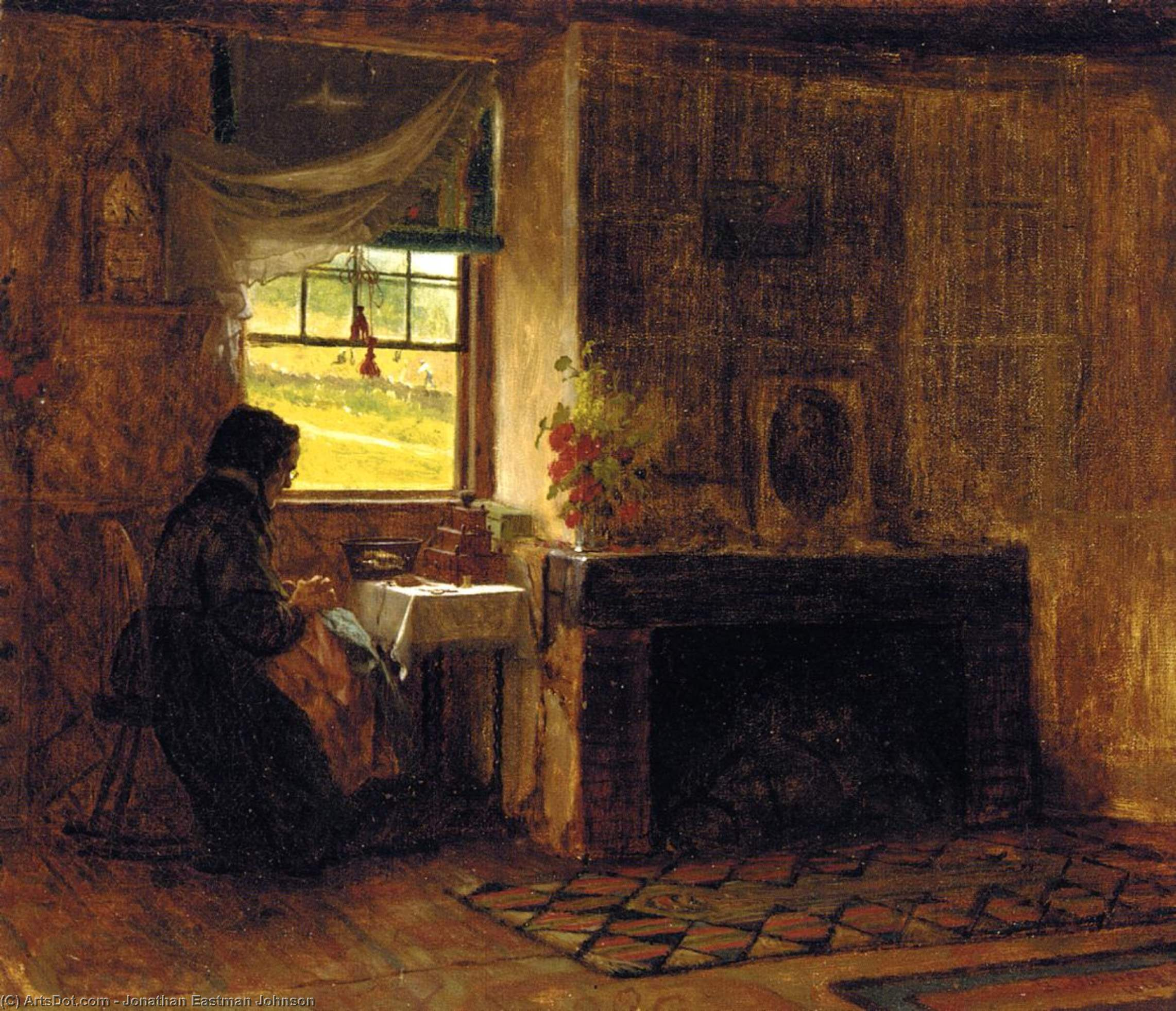 Interior of a Farm House in Maine, 1865 by Jonathan Eastman Johnson (1824-1906, United Kingdom) | Museum Quality Reproductions | ArtsDot.com