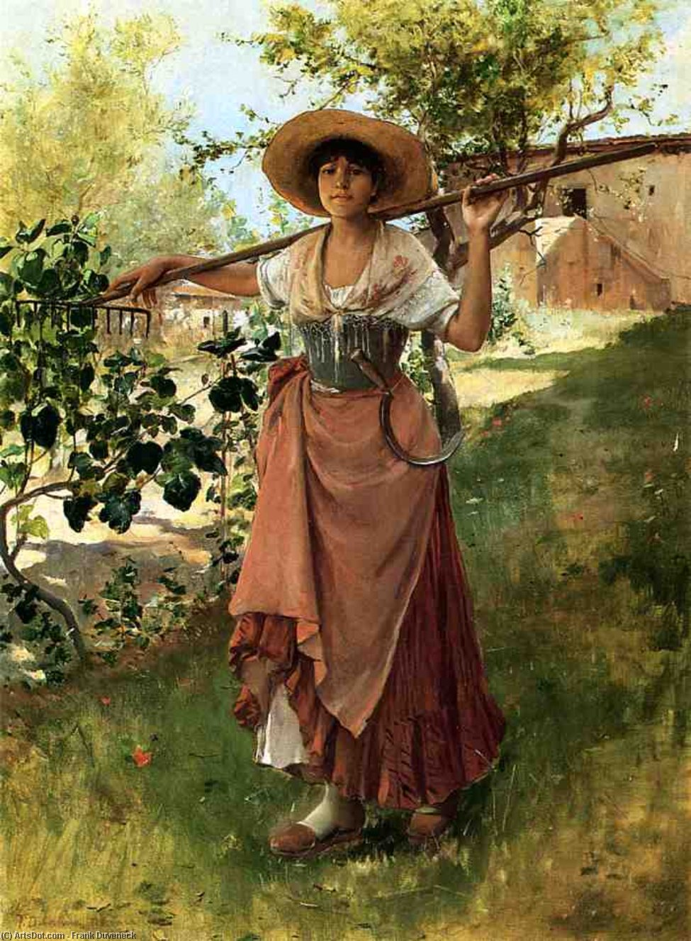 Italian Girl with Rake, Oil On Canvas by Frank Duveneck (1848-1919, United States)