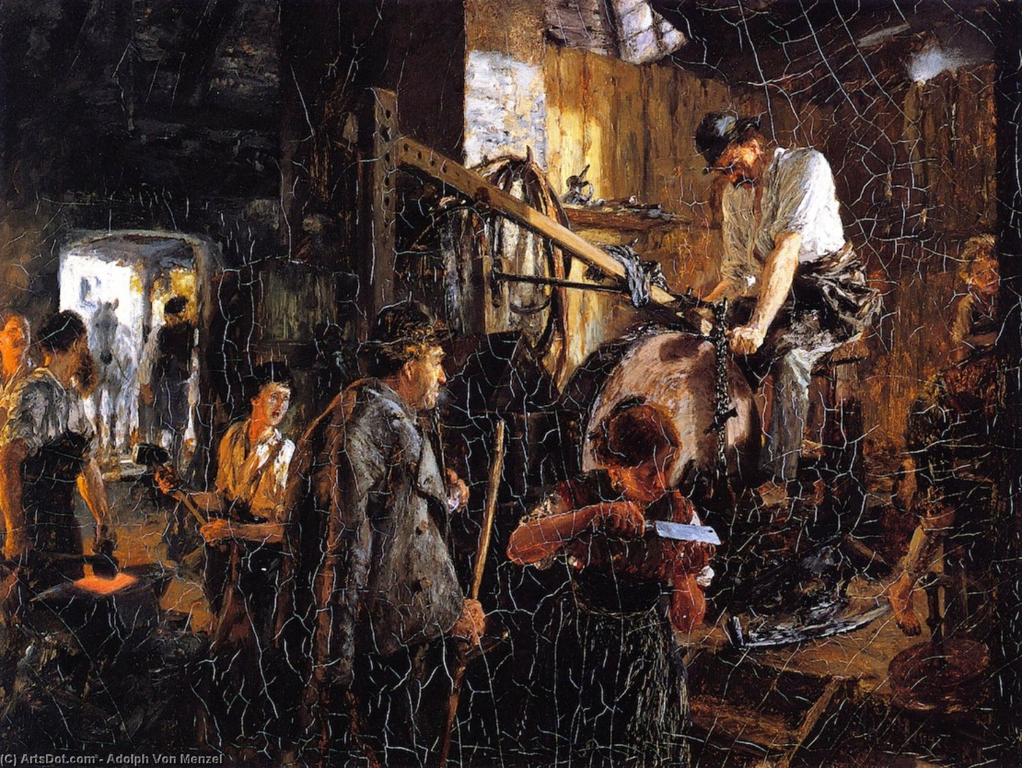 Knife-grinder`s Workshop in the Hofgastein Smithy, 1881 by Adolph Menzel (1815-1905, Poland) | Art Reproduction | ArtsDot.com