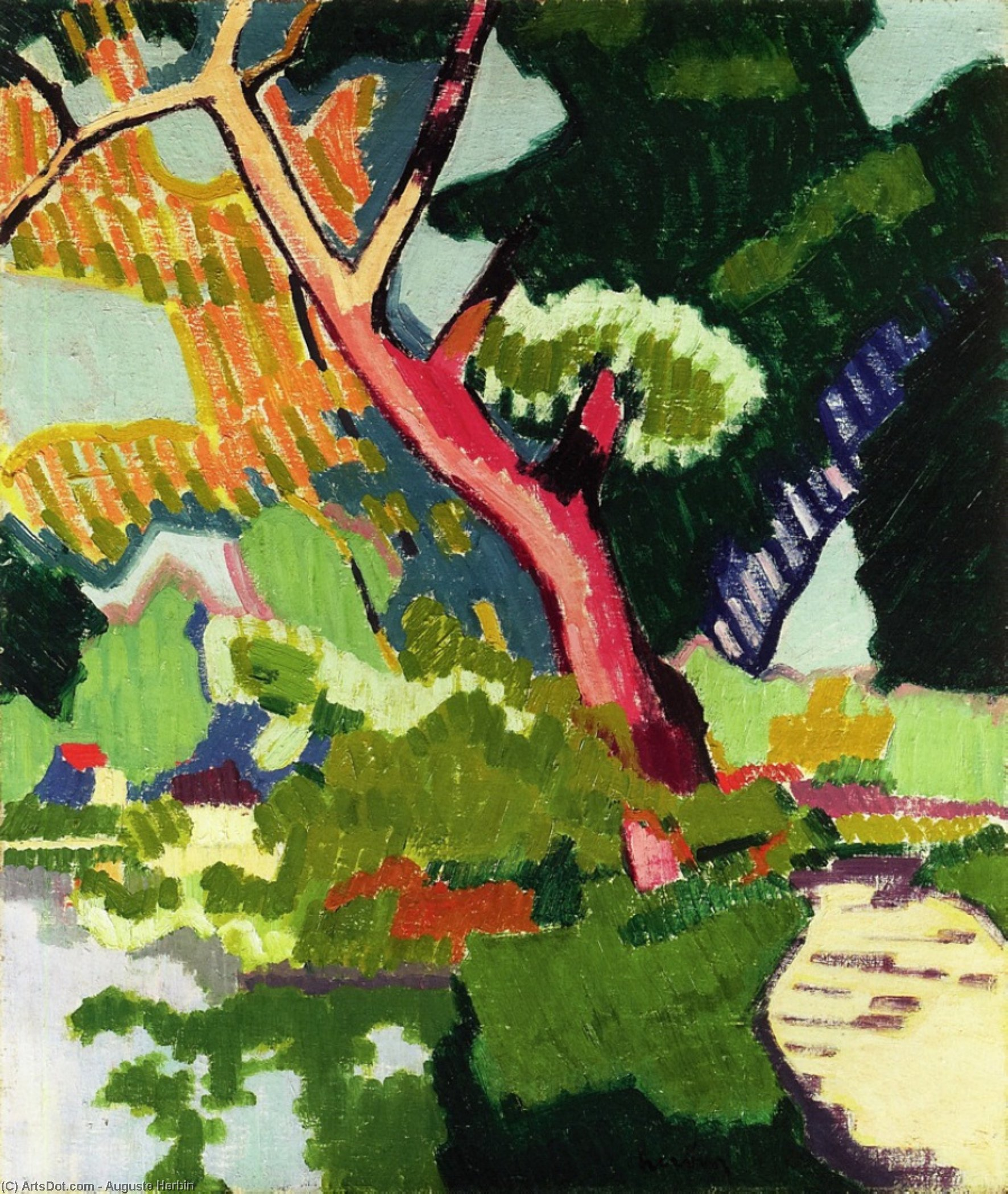 Landscape of a Waterway, Oil On Canvas by Auguste Herbin (1882-1960, United States)