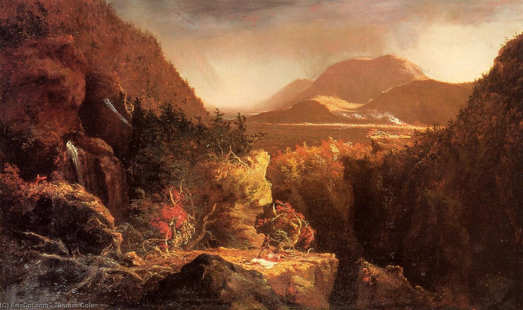 Landscape with Figures: A Scene from 'The Last of the Mohicans', Oil On Panel by Thomas Cole (1801-1848, United Kingdom)