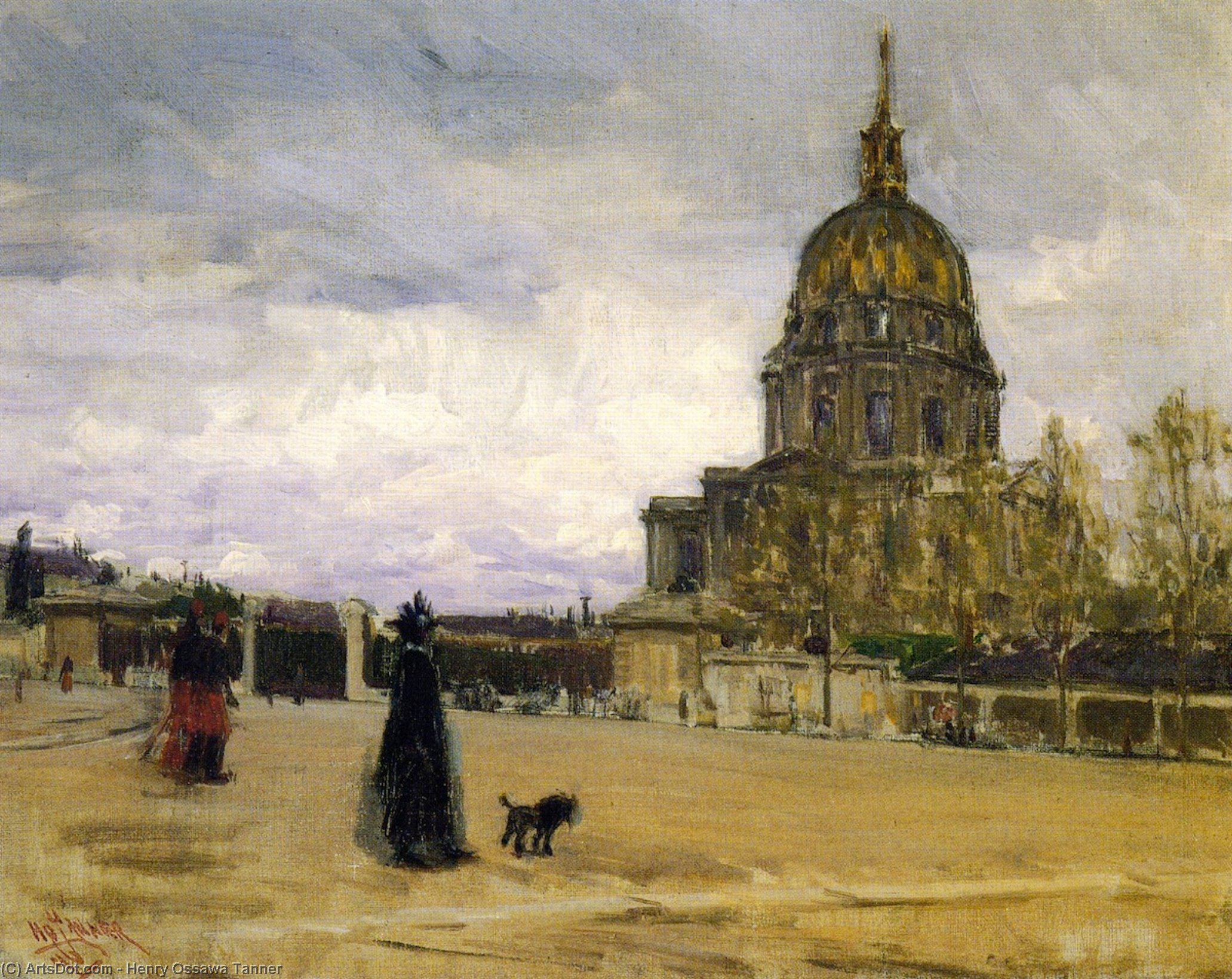 Les Invalides, Oil On Canvas by Henry Ossawa Tanner (1859-1937, United States)