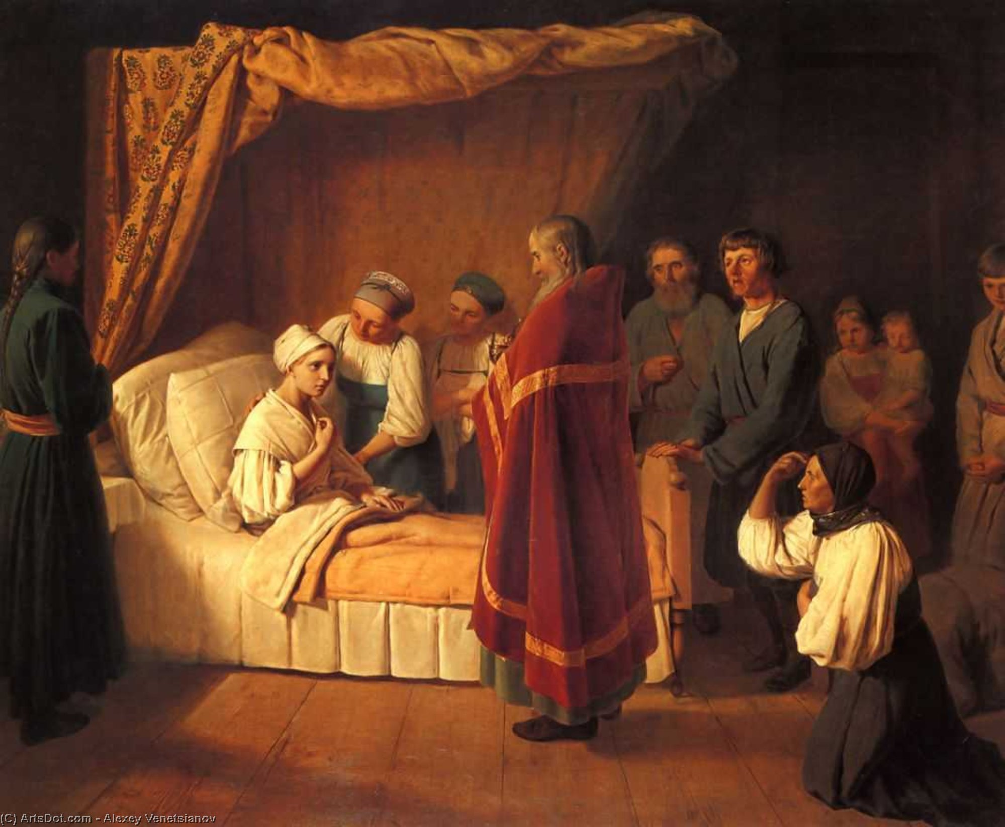 Communion of Dying, 1839 by Alexey Venetsianov (1780-1847, Russia)