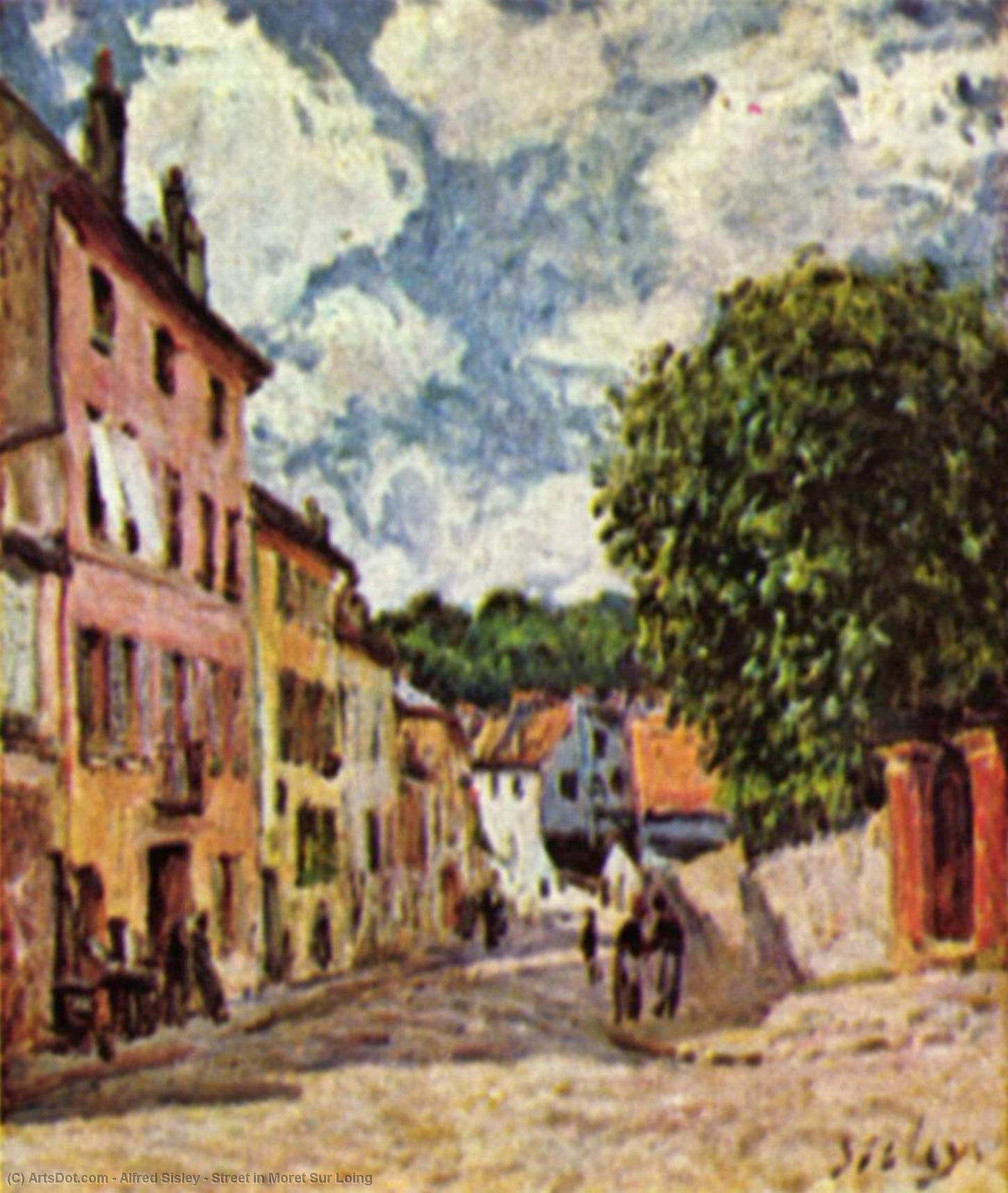 Street in Moret Sur Loing, 1892 by Alfred Sisley (1839-1899, France) | Museum Quality Copies Alfred Sisley | ArtsDot.com