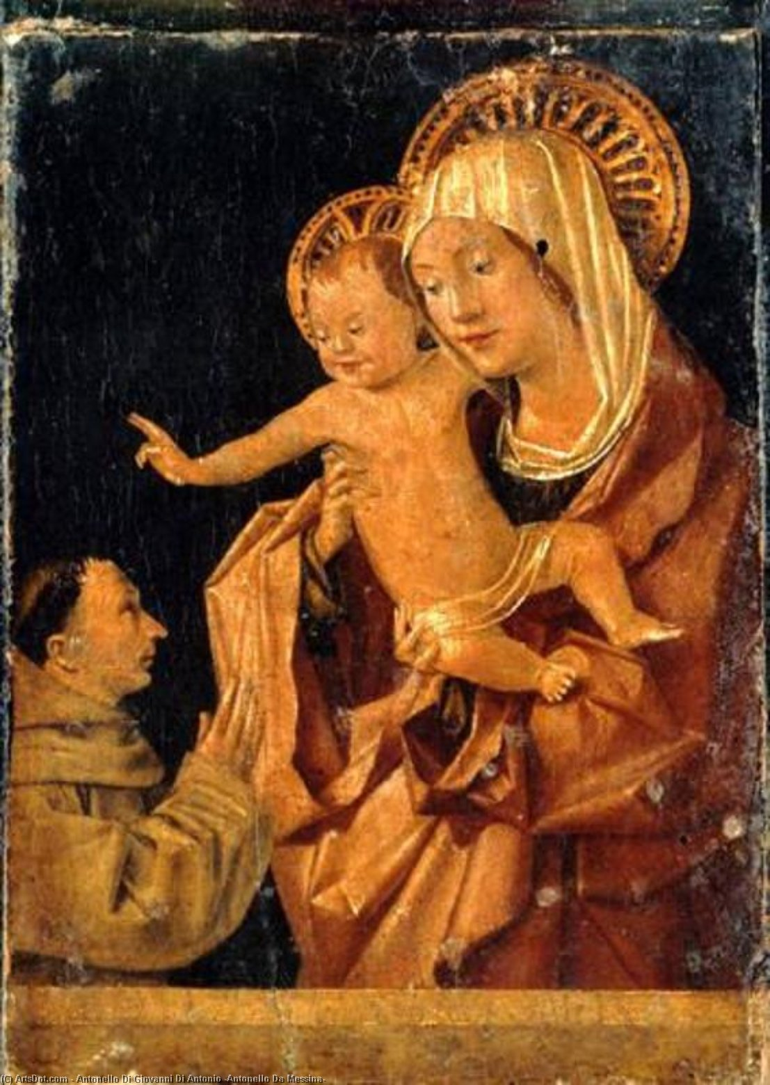 Order Painting Copy : Madonna and Child with a Praying Franciscan Donor, 1455 by Antonello Di Giovanni Di Antonio (Antonello Da Messina) (1430-1479, Italy) | ArtsDot.com