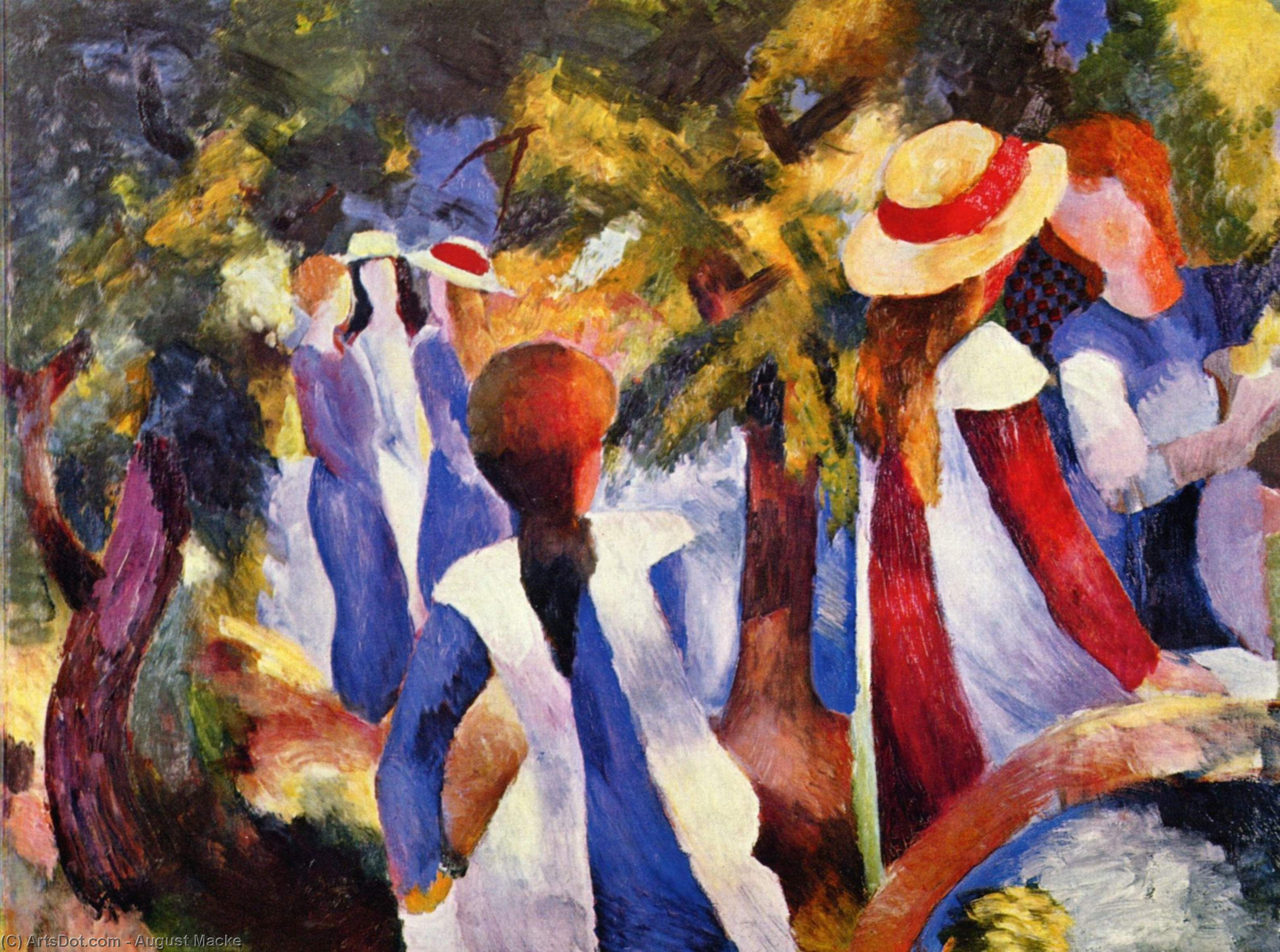 Girl in the greenery, 1914 by August Macke (1887-1914, Germany) | Museum Art Reproductions | ArtsDot.com