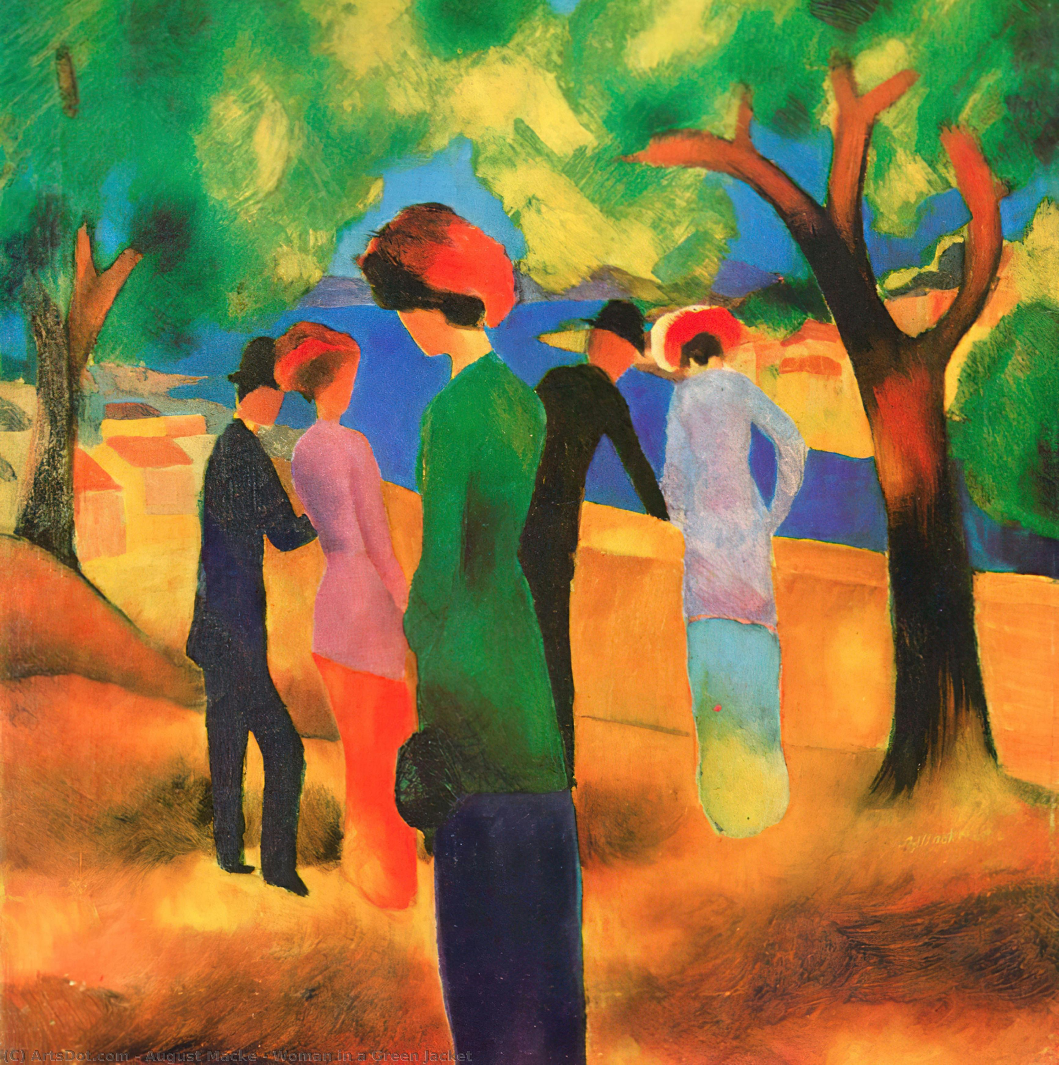Order Museum Quality Copies | Woman in a Green Jacket, 1913 by August Macke (1887-1914, Germany) | ArtsDot.com