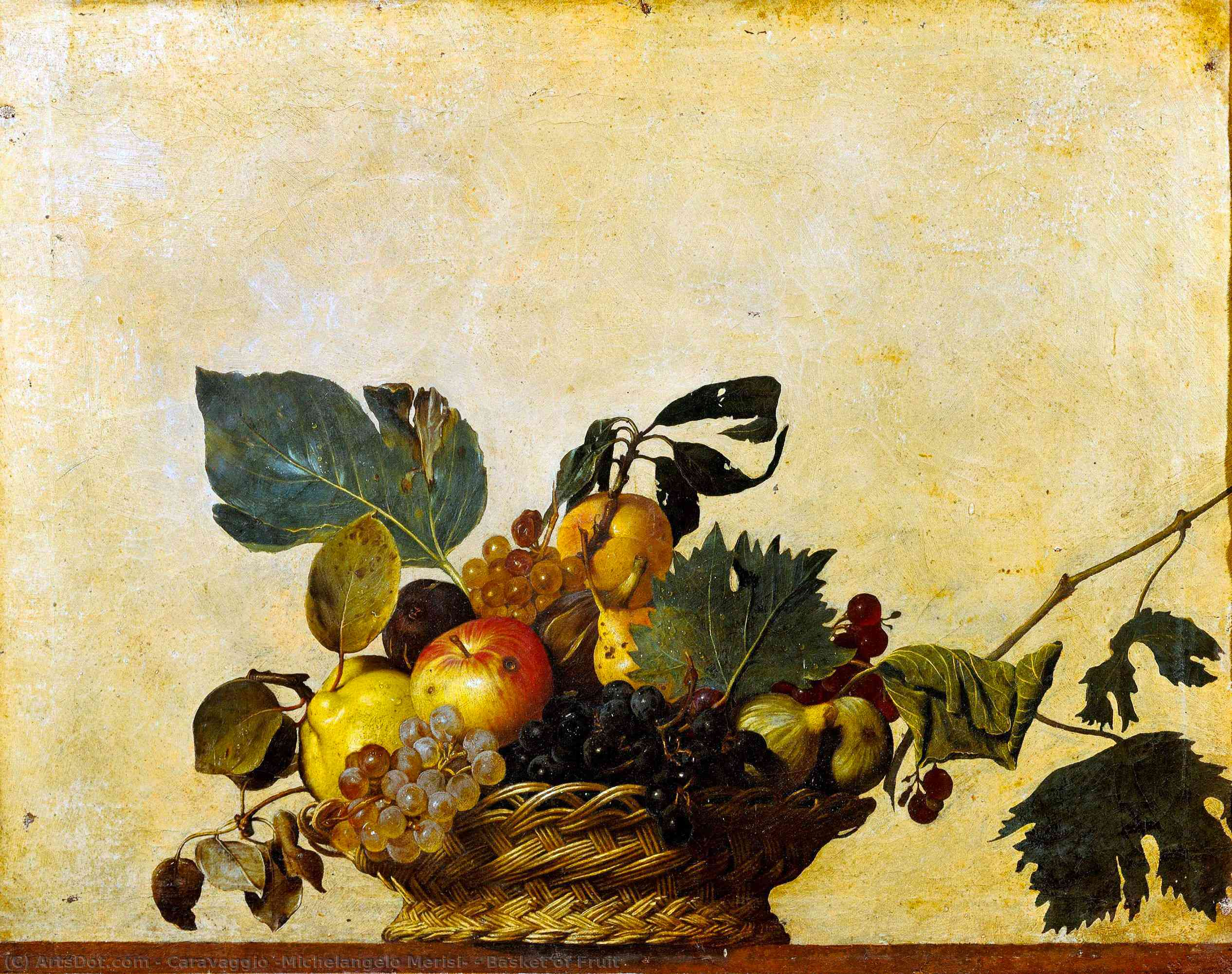 Basket of Fruit, 1596 by Caravaggio (Michelangelo Merisi) (1571-1610, Spain) | Painting Copy | ArtsDot.com