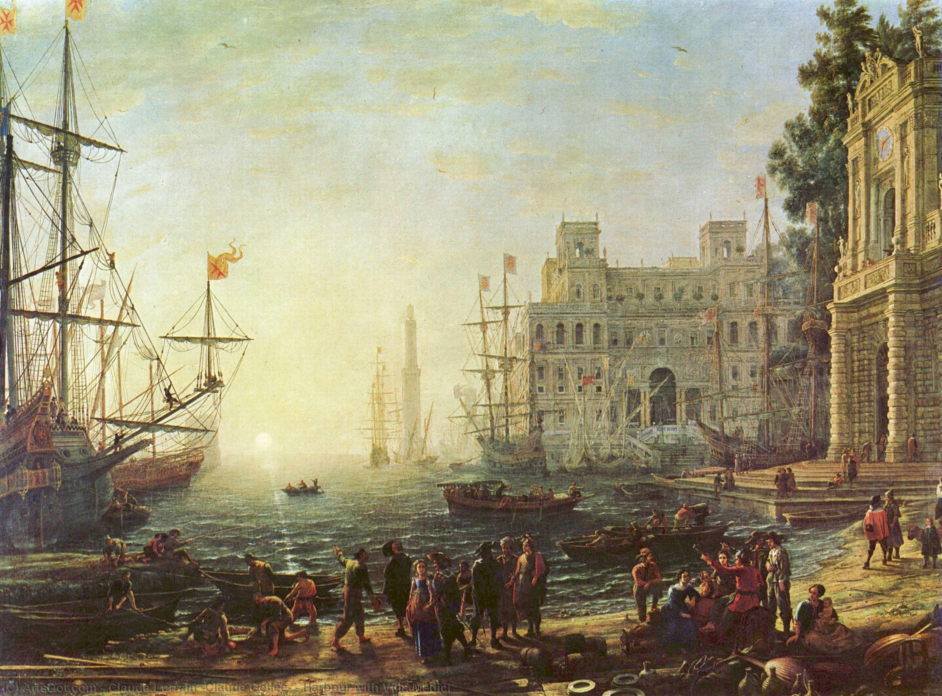 Harbour with Villa Medici, 1637 by Claude Lorrain (Claude Gellée) | Museum Quality Reproductions | ArtsDot.com