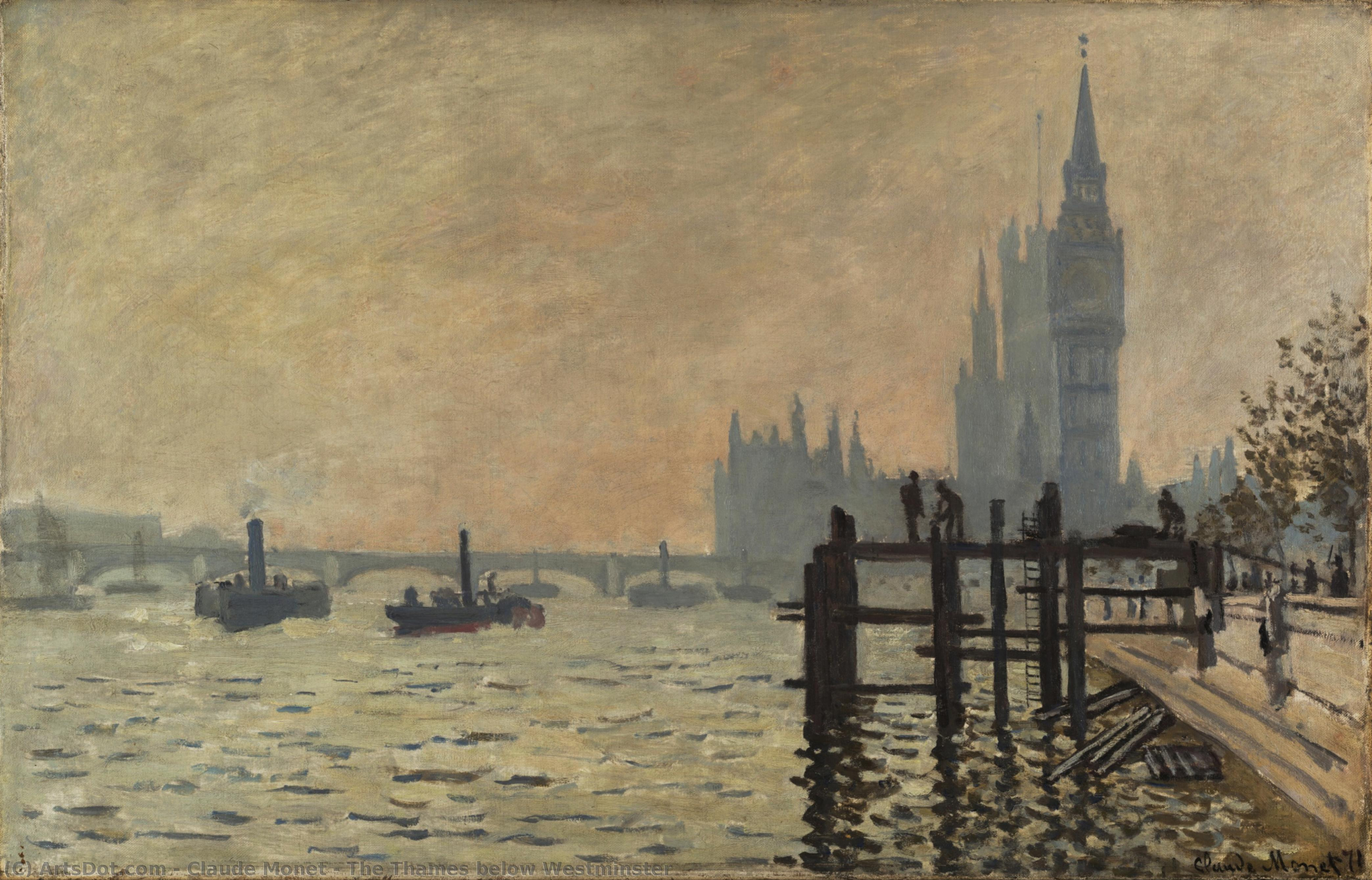The Thames below Westminster, 1871 by Claude Monet (1840-1926, France) | Painting Copy | ArtsDot.com