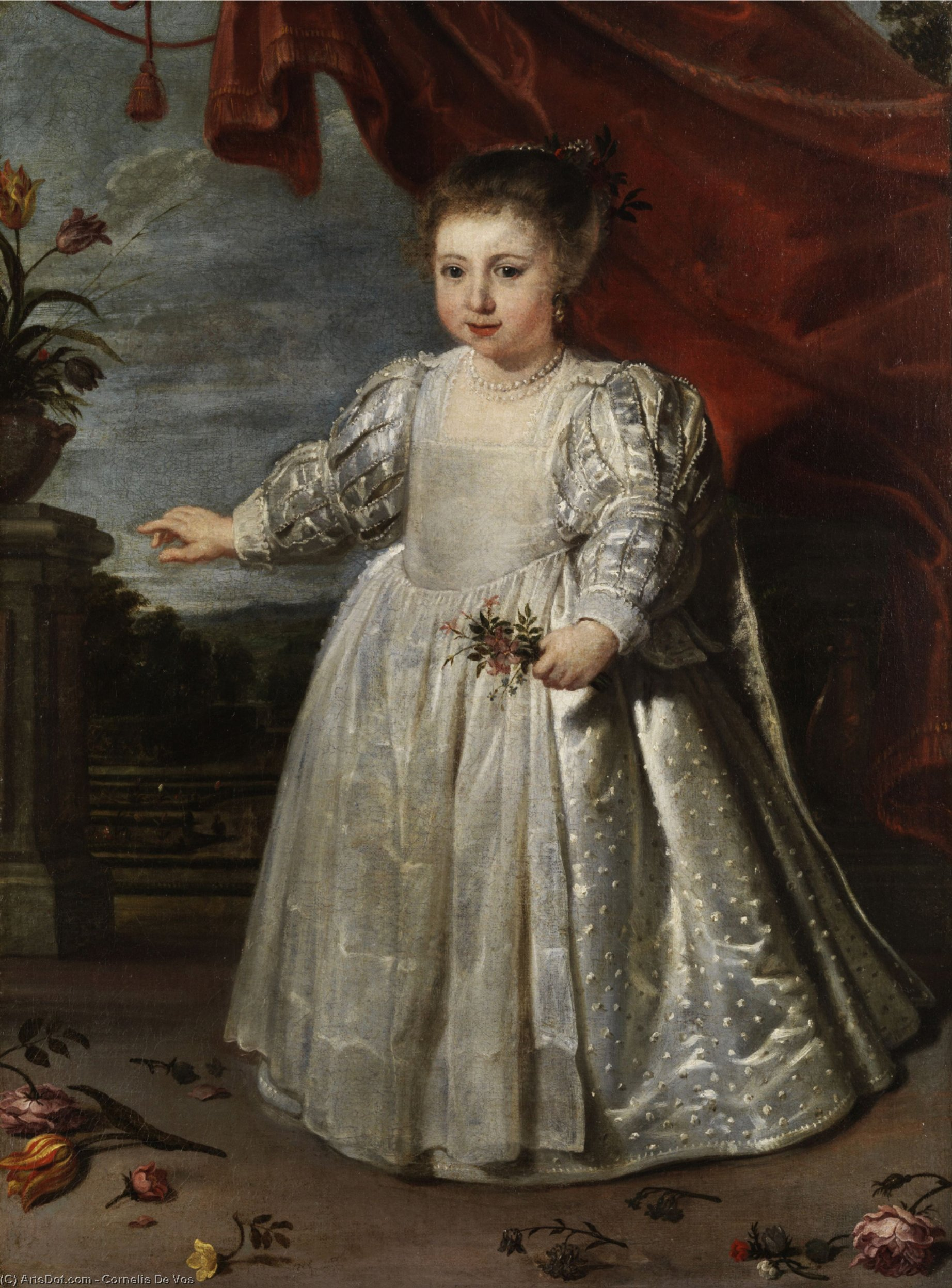 Portrait of the artist`s daughter by Cornelis De Vos (1585-1651, Belgium) | Painting Copy | ArtsDot.com