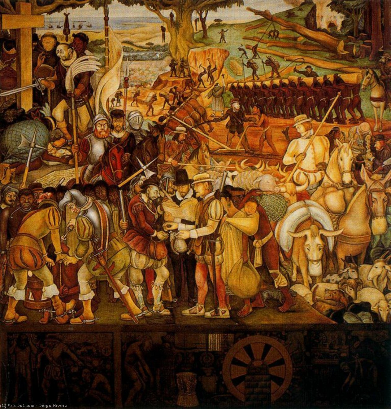 Colonisation, 'The Great City of Tenochtitlan', 1952 by Diego Rivera (1886-1957, Mexico)