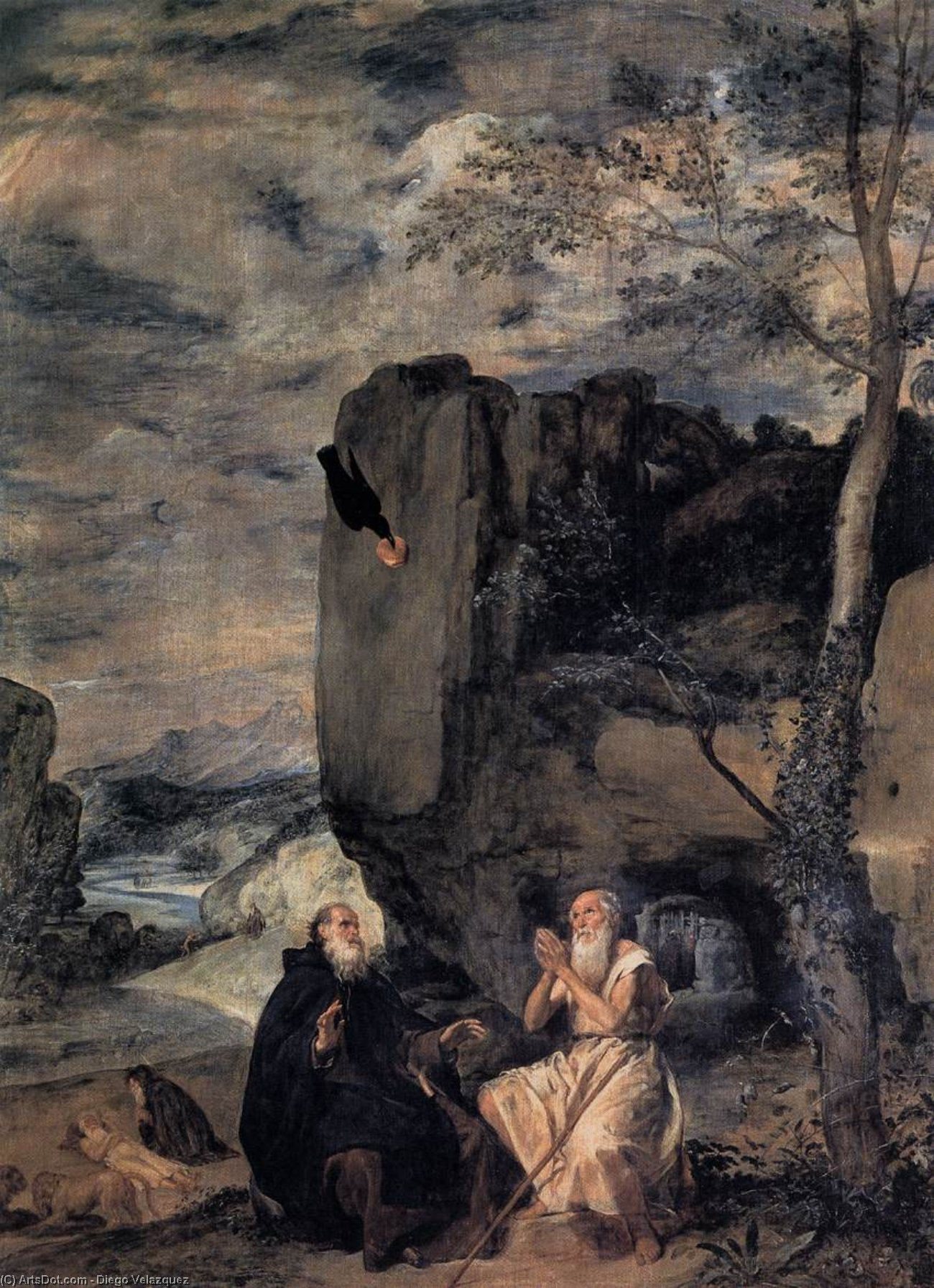 St. Anthony the Abbot and St. Paul the First Hermit, Oil On Canvas by Diego Velazquez (1599-1660, Spain)