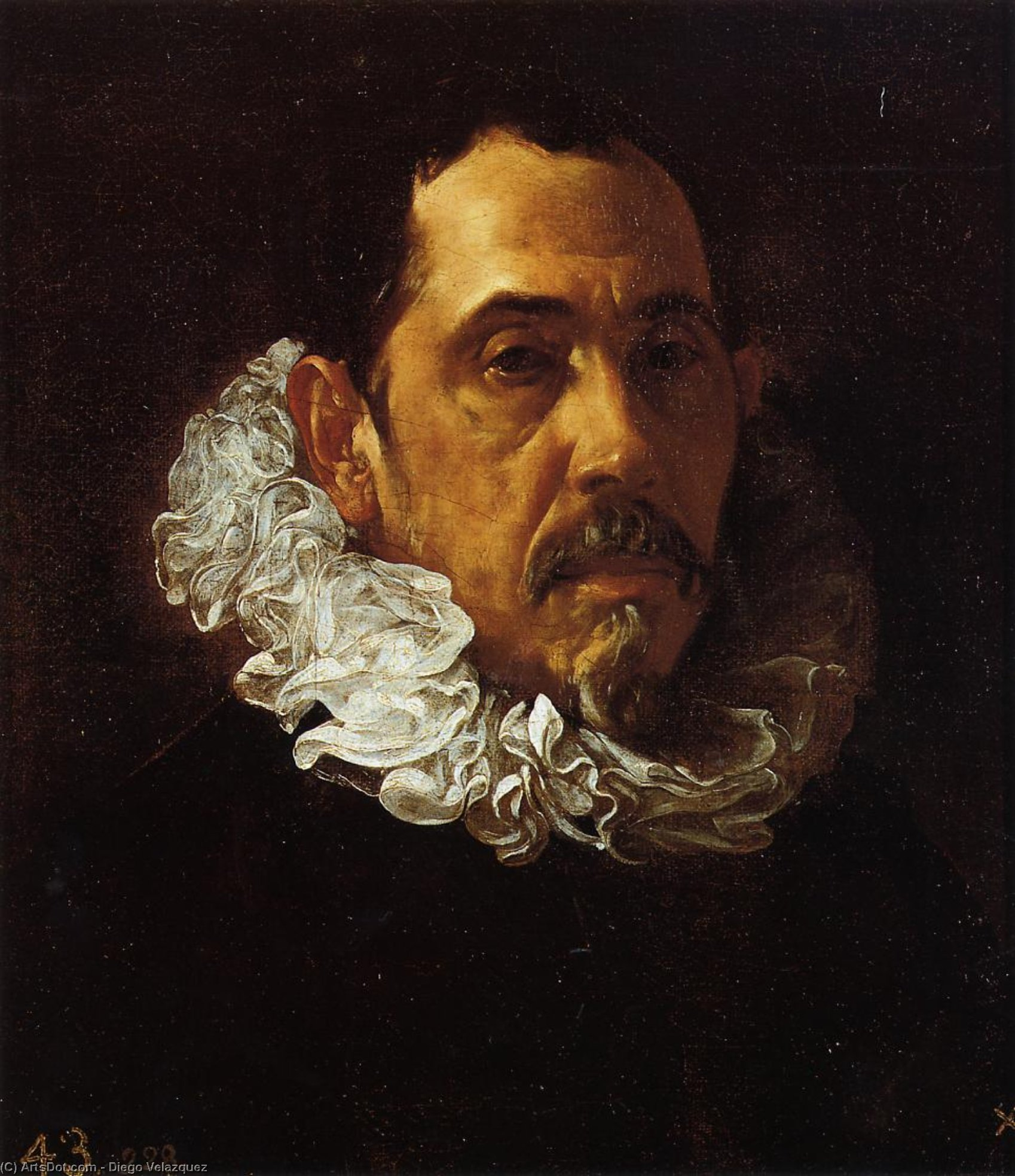 Portrait of a Man with a Goatee, Oil On Canvas by Diego Velazquez (1599-1660, Spain)