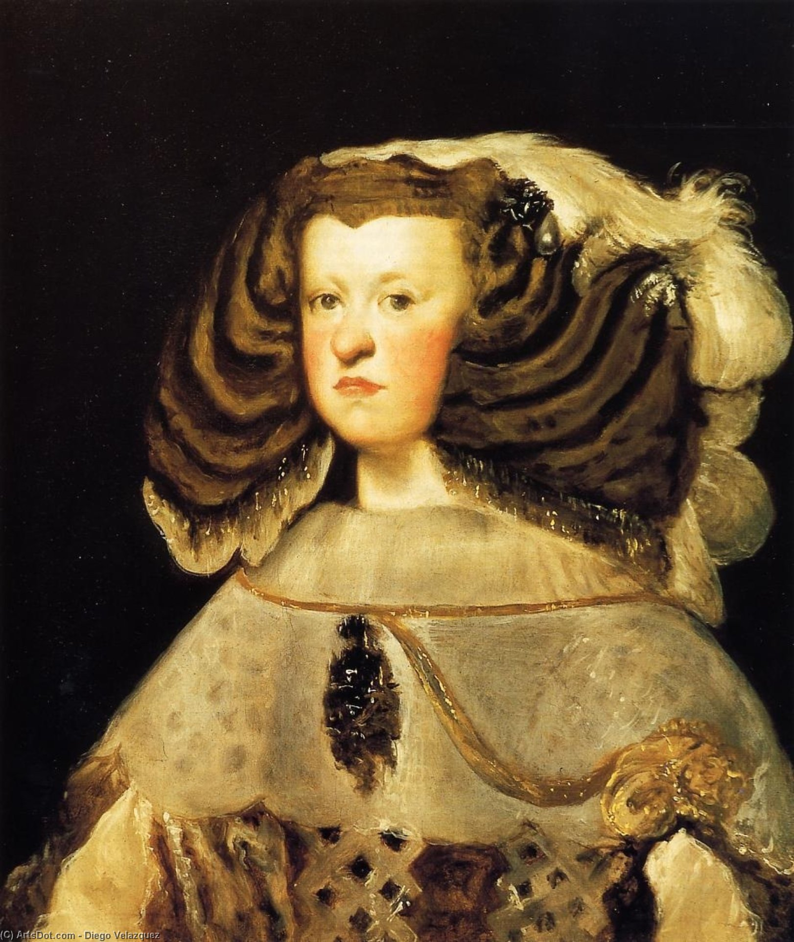 Queen Mariana, Oil On Canvas by Diego Velazquez (1599-1660, Spain)
