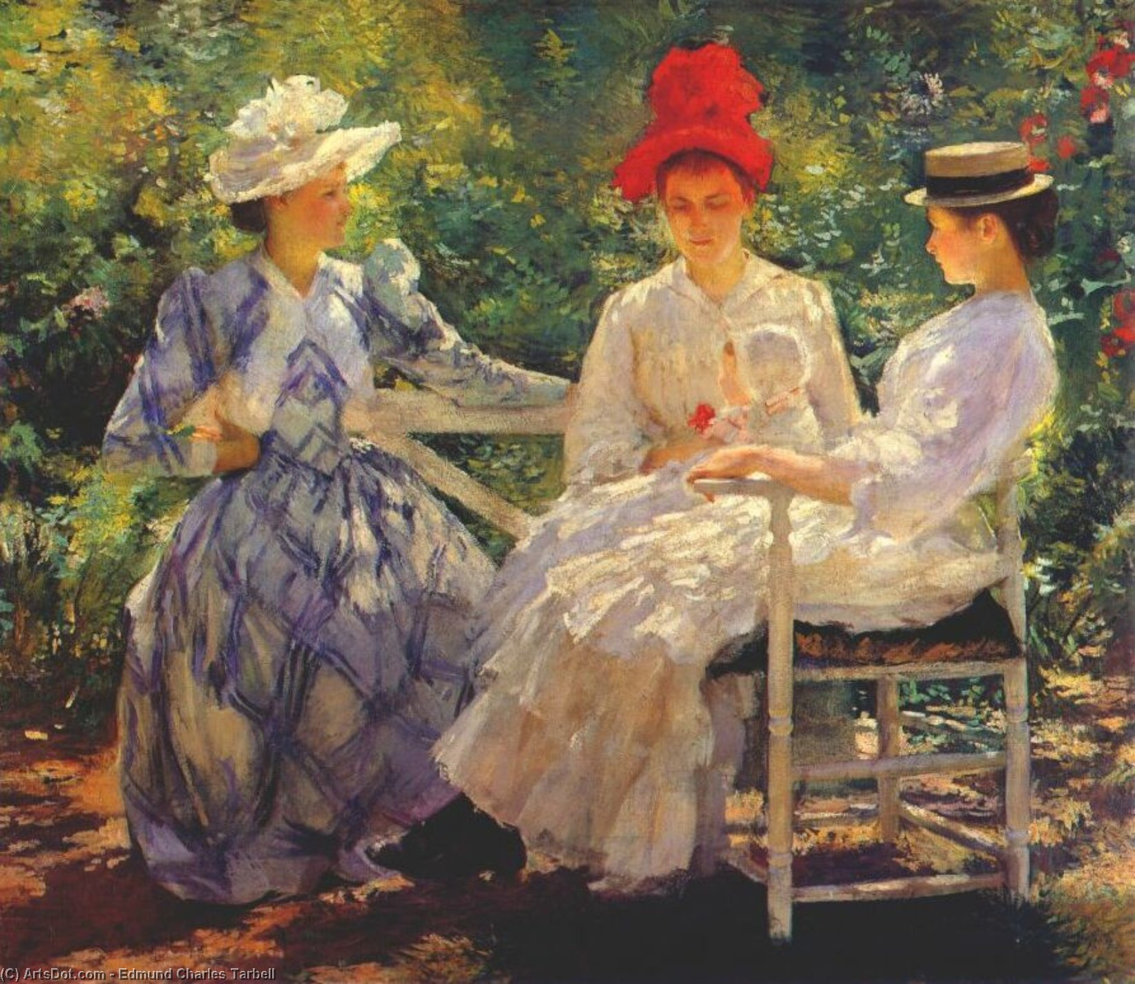 In a Garden, Oil On Canvas by Edmund Charles Tarbell (1862-1938, United States)