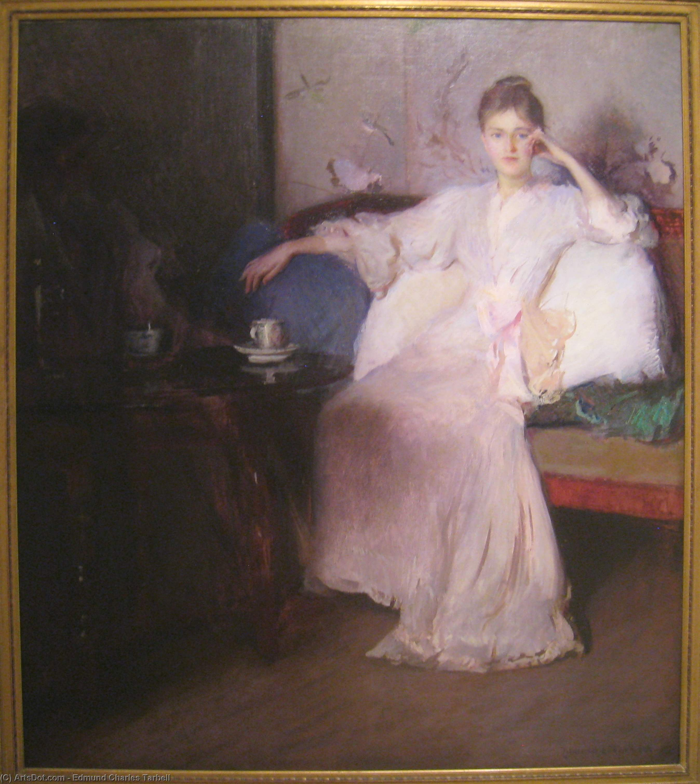 Arrangement in Pink and Gray (Afternoon Tea), Oil On Canvas by Edmund Charles Tarbell (1862-1938, United States)