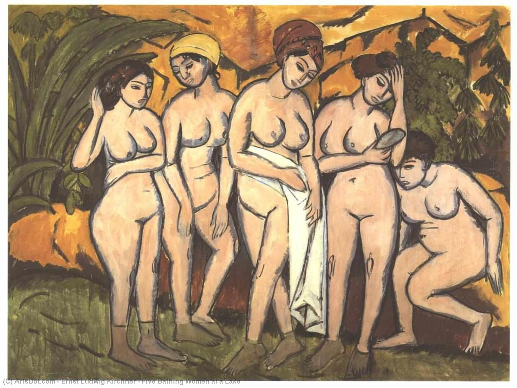 Five Bathing Women at a Lake by Ernst Ludwig Kirchner (1880-1938, Germany) | Painting Copy | ArtsDot.com