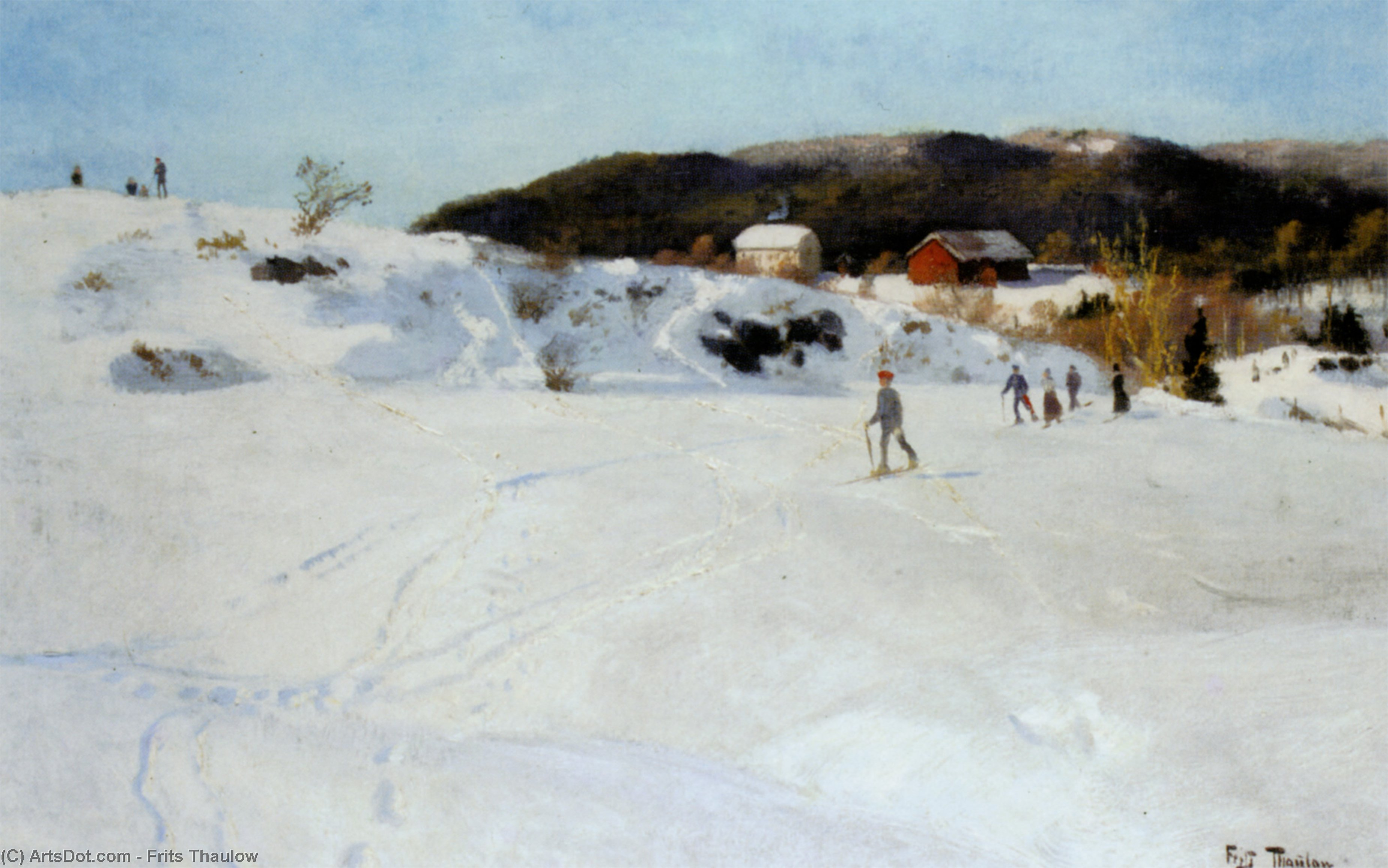 Skiers, Oil On Canvas by Frits Thaulow (1847-1906, Norway)