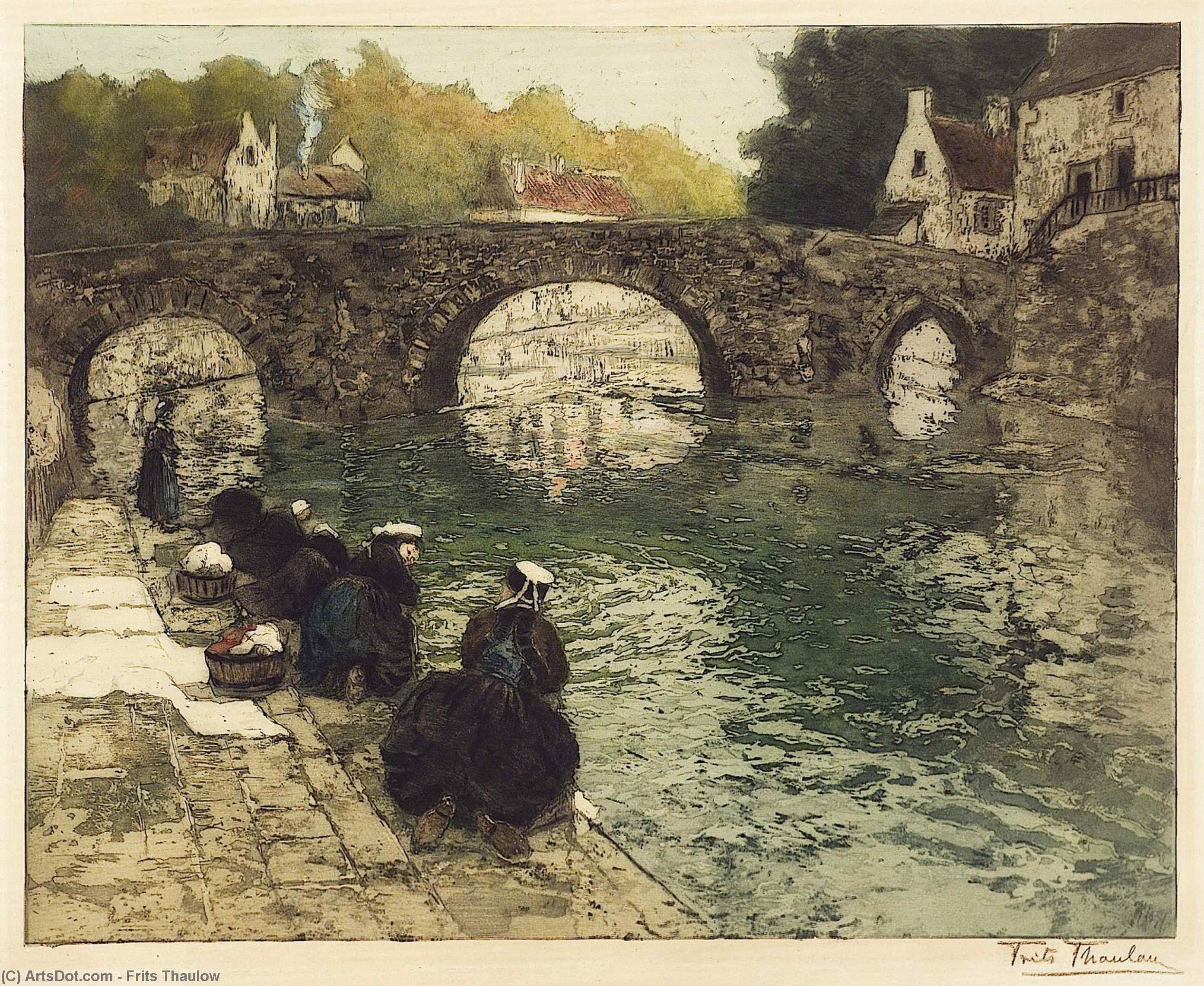 Washerwomen at Quimperle by Frits Thaulow (1847-1906, Norway) | ArtsDot.com